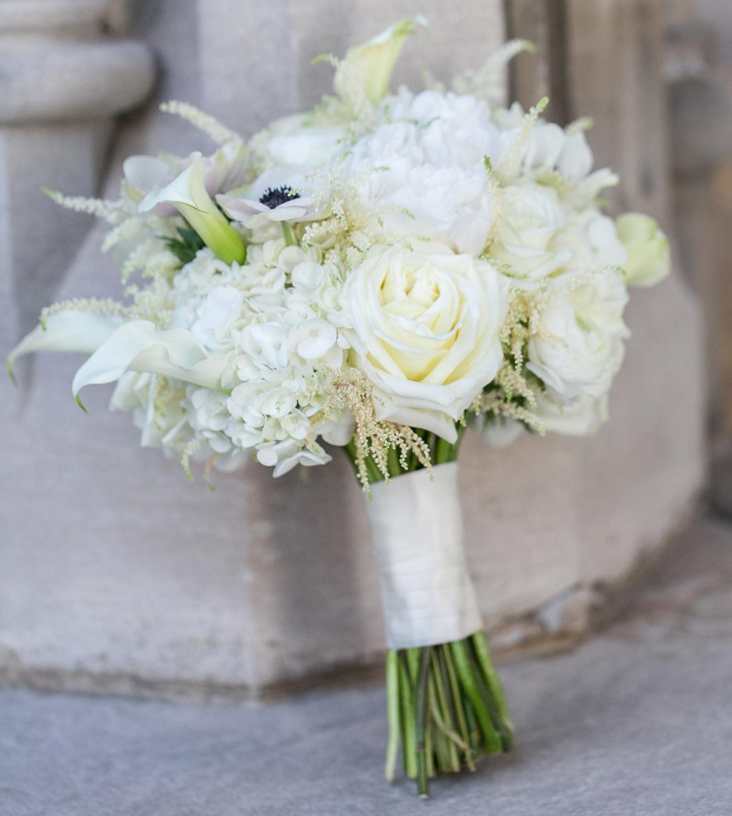 bridal bouquet white roses, ivory hydrangeas, anemones, calla lily