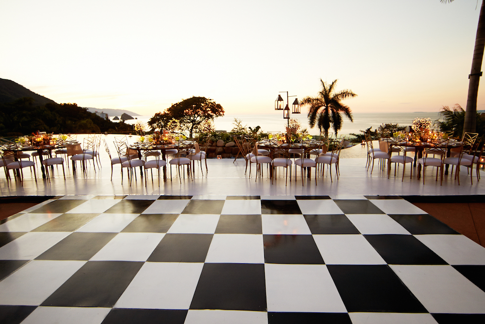 black and white checkered dance floor wedding reception
