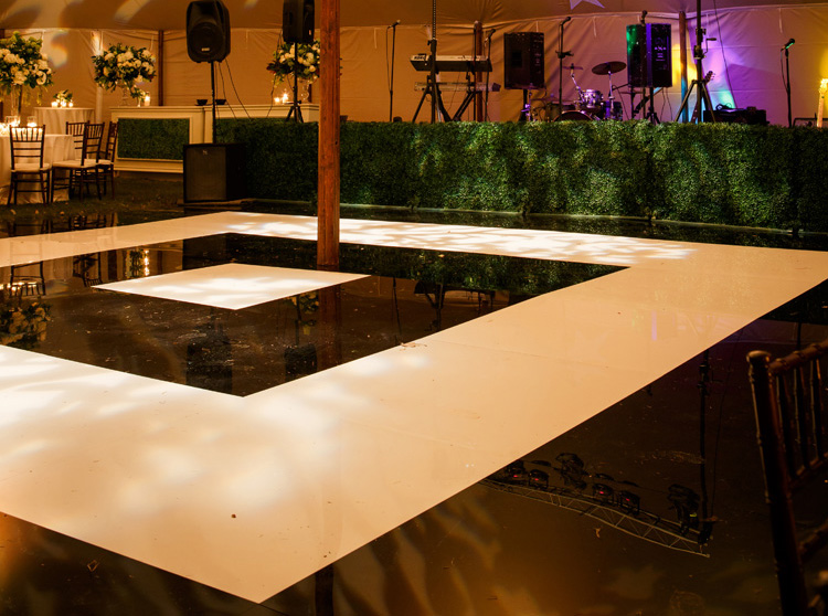 black and white square bullseye dance floor wedding reception