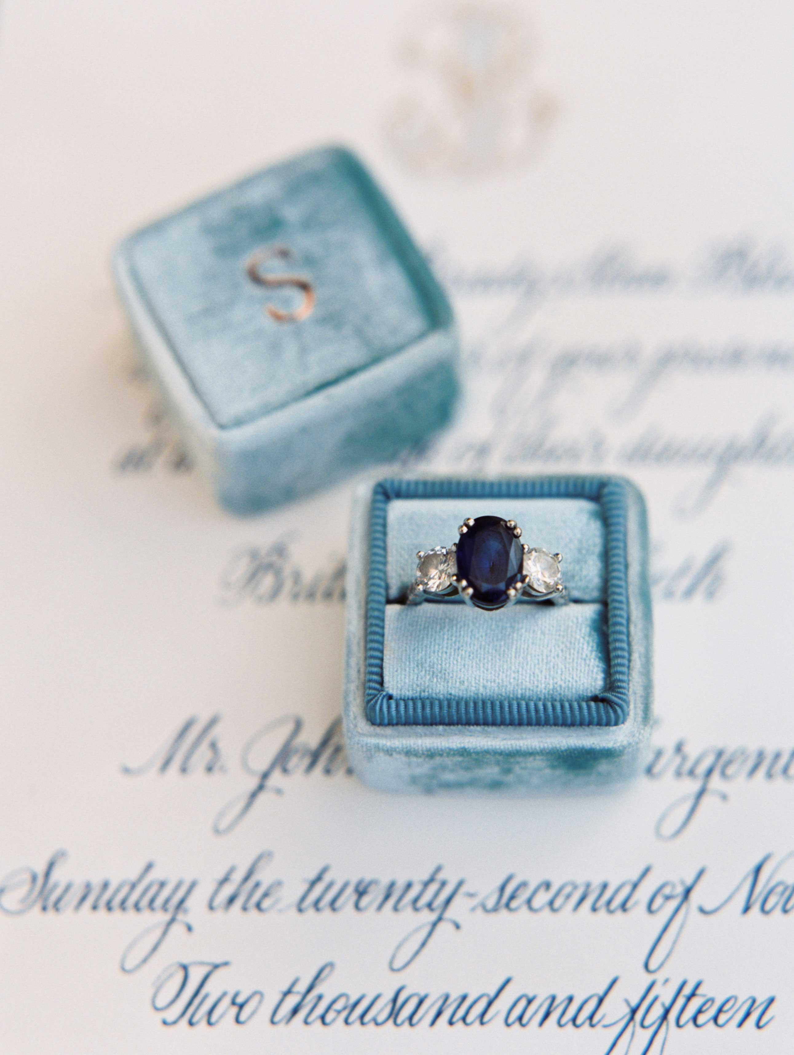 Blue oval sapphire engagement ring three stone ring diamonds Mrs. Box