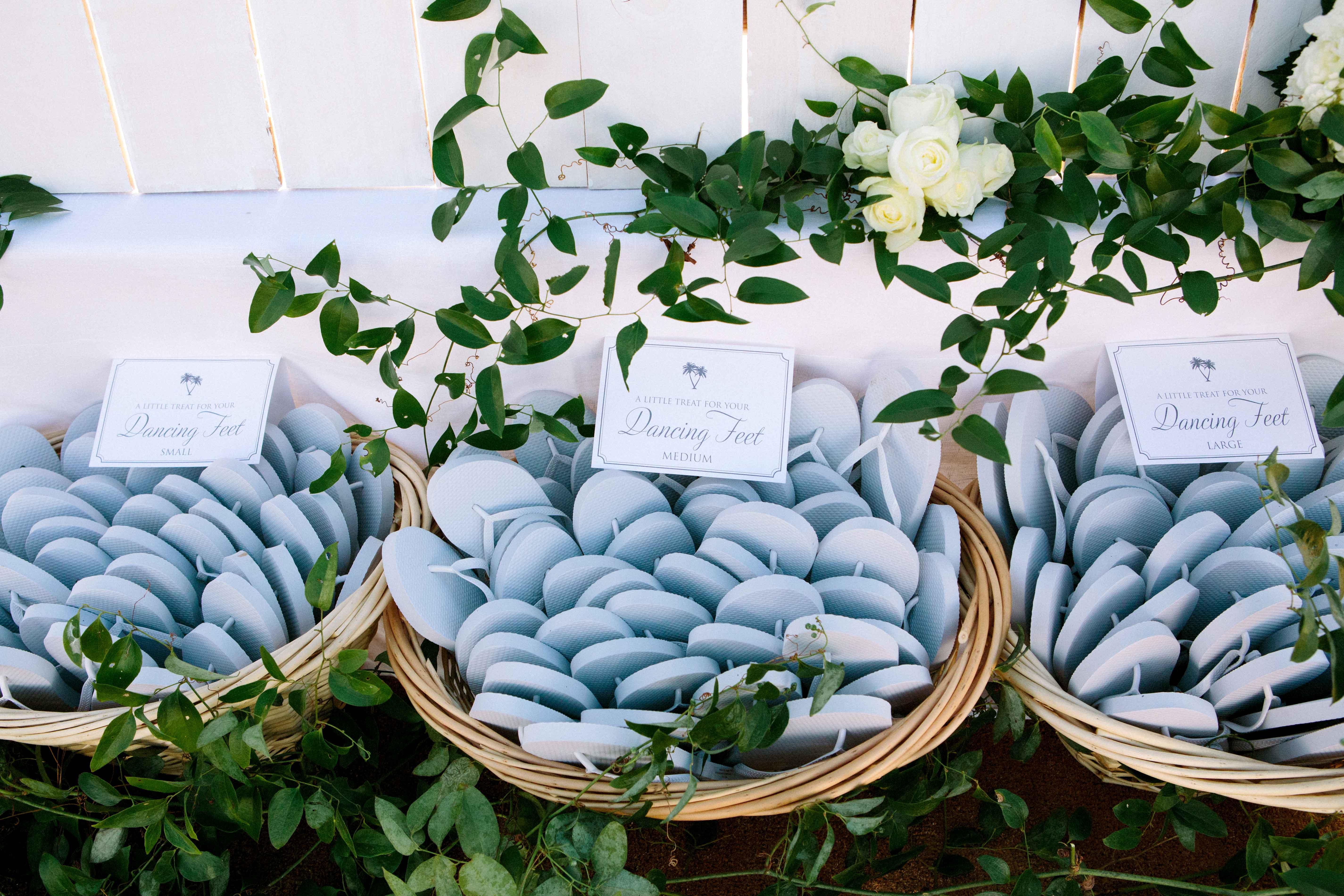 Light blue flip flops in baskets grey details
