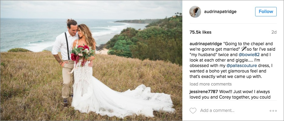 Audrina Patridge wedding day instagram post