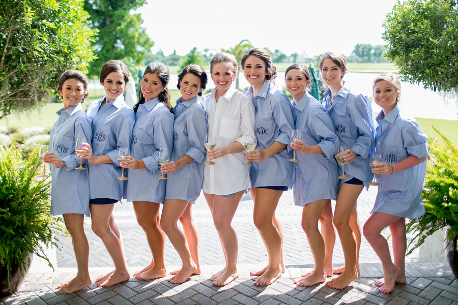 alternatives for bridesmaid getting ready attire, button up shirts