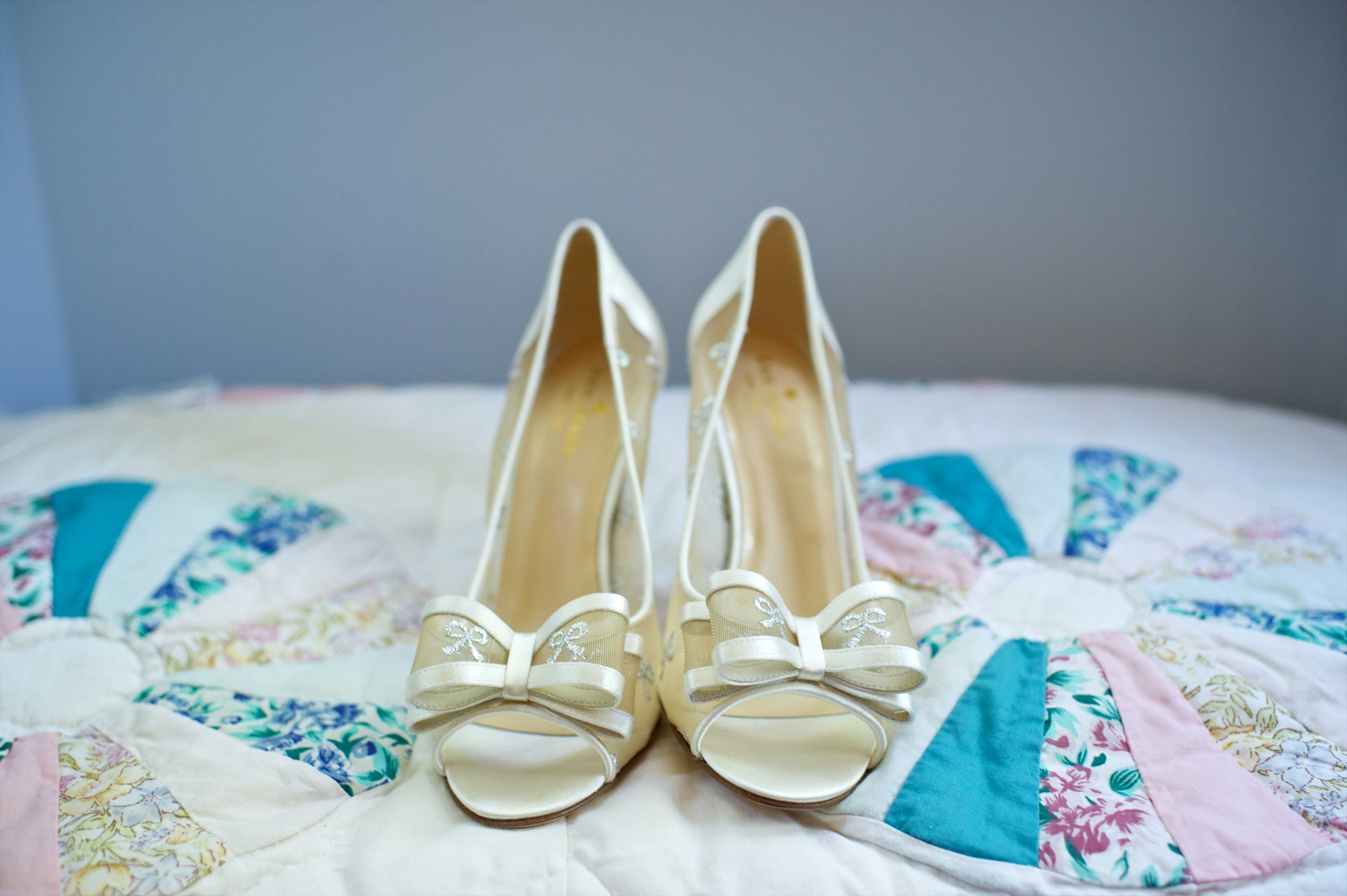 wedding bow details, kate spade peep toe bridal pumps with bows