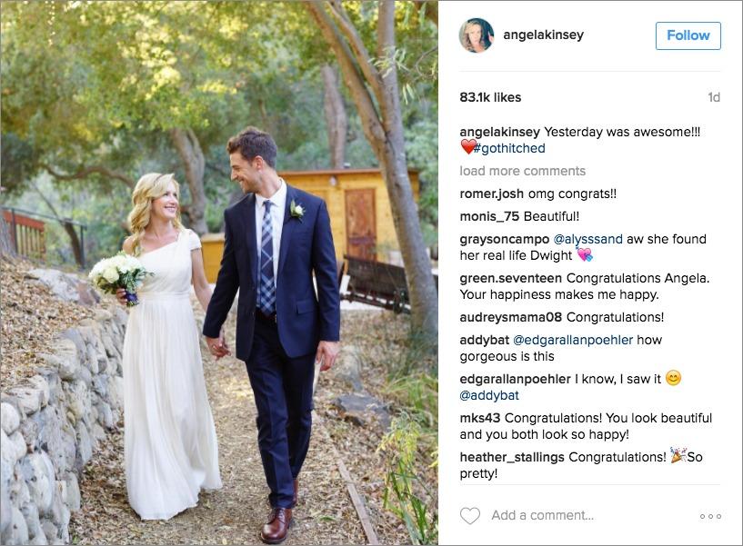 Angela Kinsey wedding day instagram photo