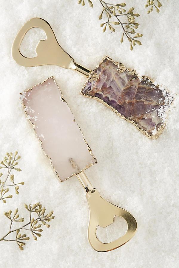 Quartz and amethyst agate bottle opener gold Anthropologie gift ideas