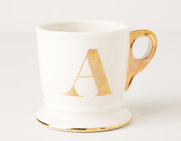 Gold monogram Anthropologie mug with initial gift idea