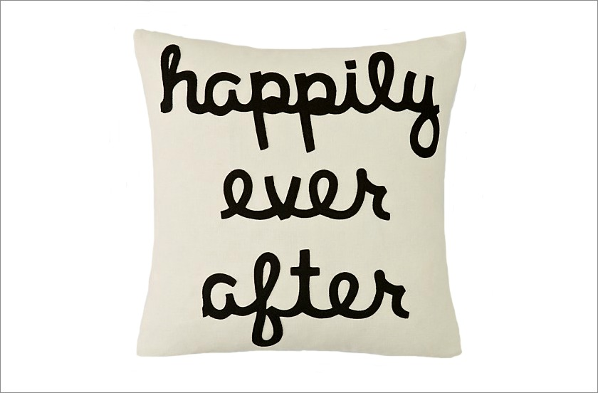 Happily Ever After white black pillow engaged couple holiday gift ideas