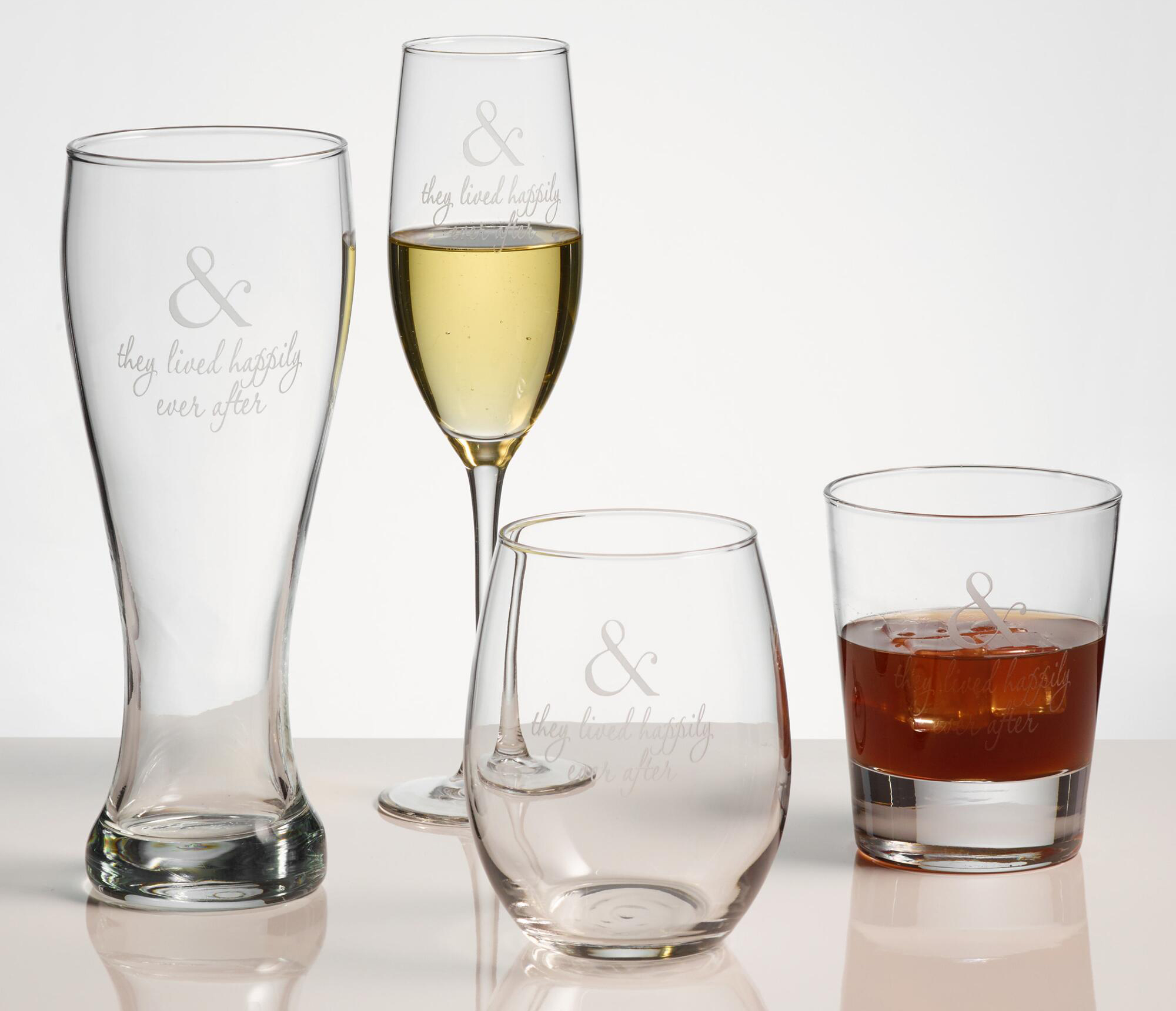 Happily Ever After etched personalized glassware from Williams Sonoma gift ideas engaged couples