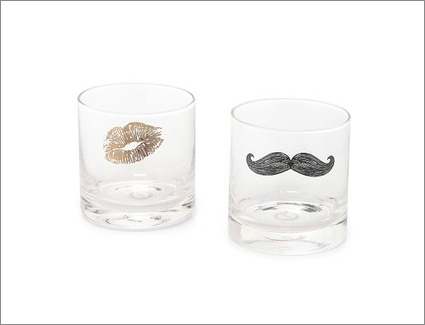Kiss and mustache glasses his and hers wedding engagement gift idea