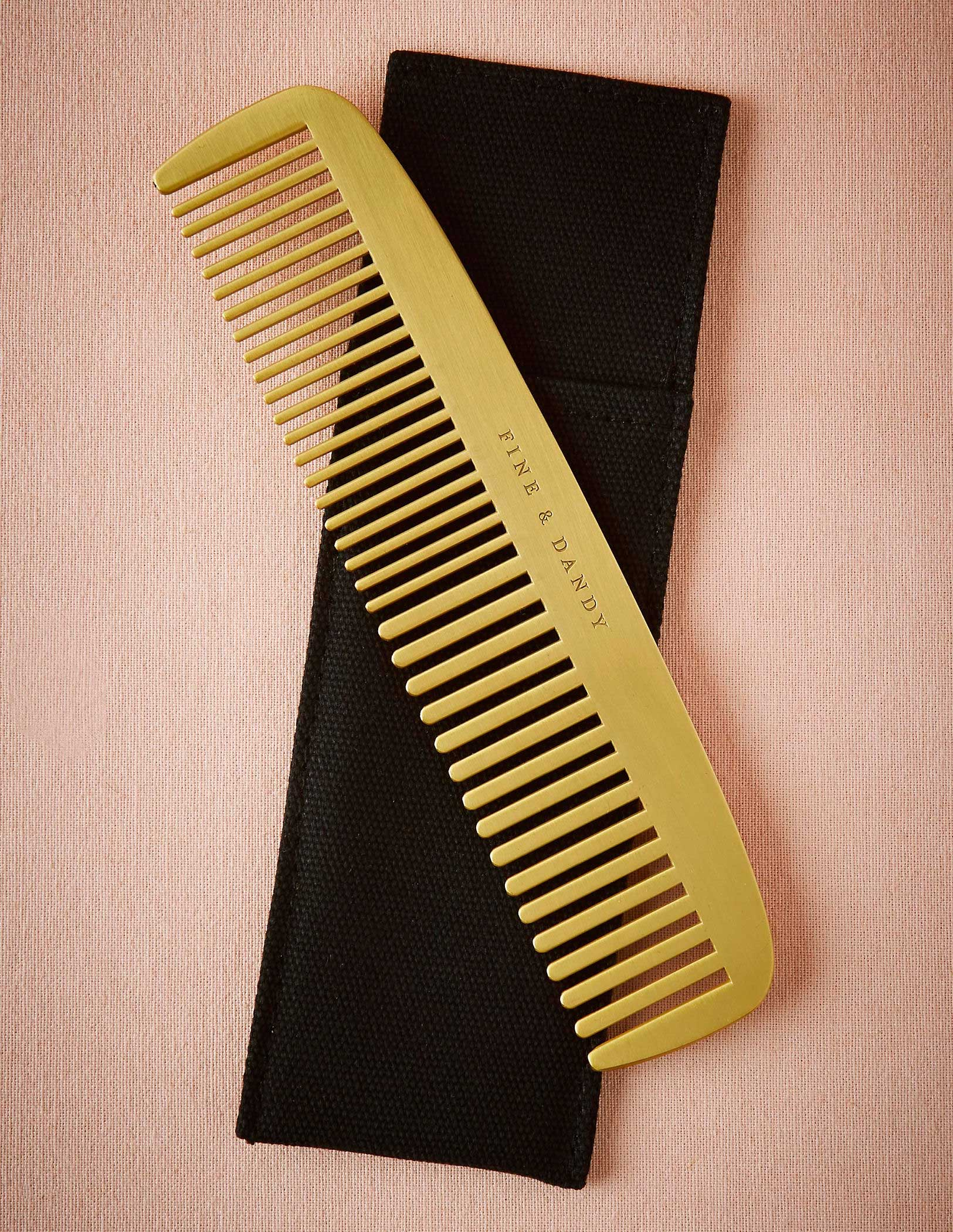 Gold fine and dandy engraved comb with carrying case BHLDN gift idea groom men groomsman groomsmen