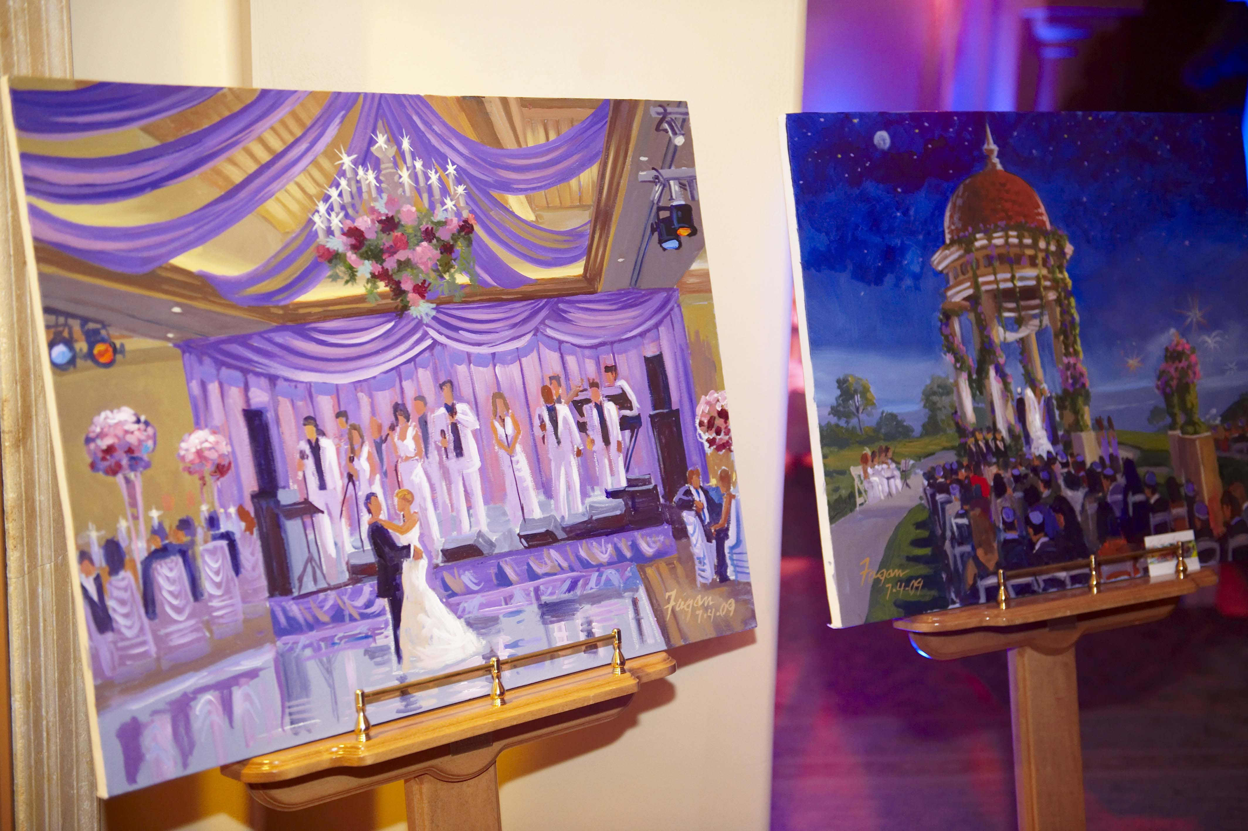 live paintings of wedding ceremony and reception