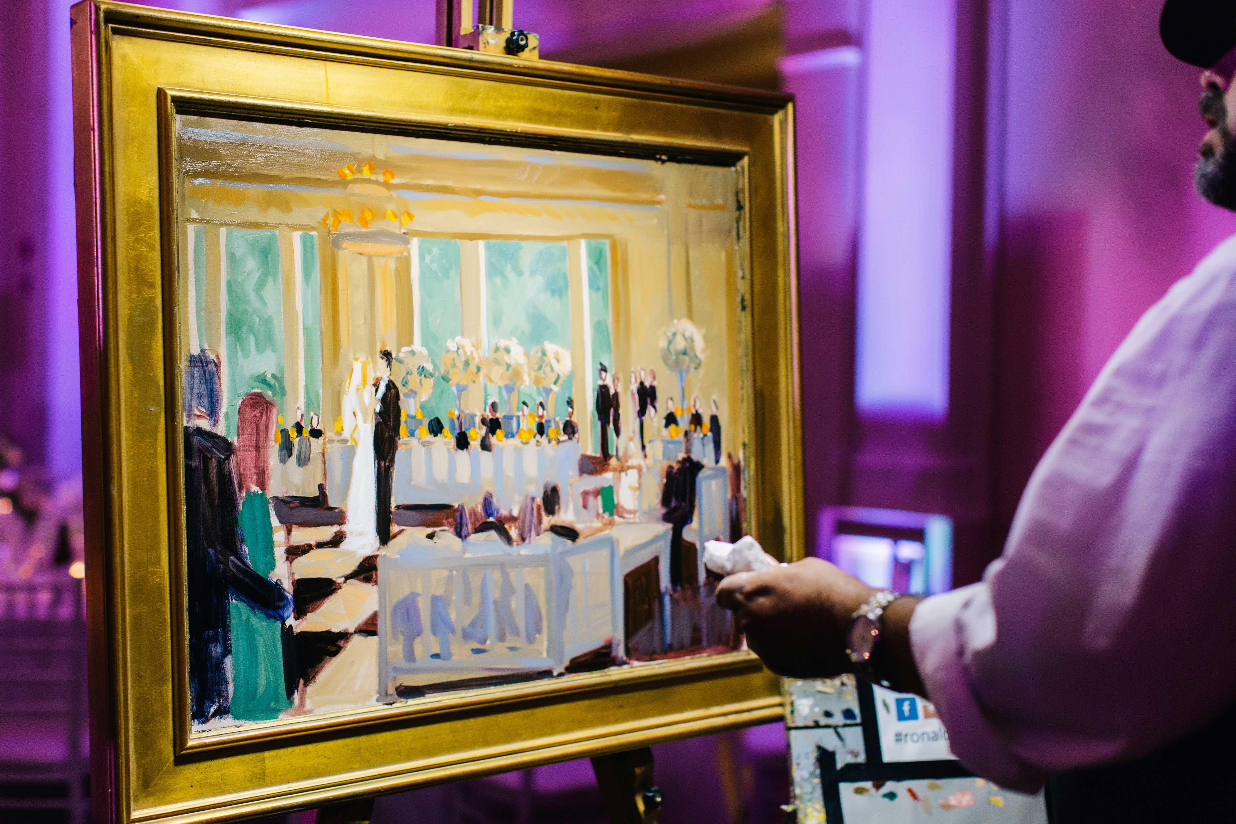live event artist paints newlyweds' first dance