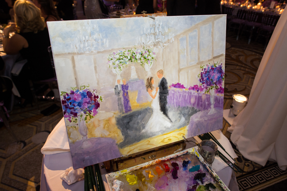 painting of couple's first dance at wedding