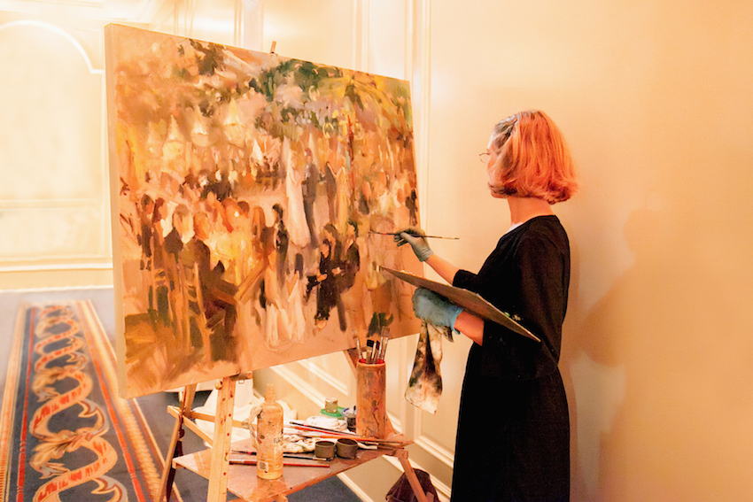 live painting of wedding reception