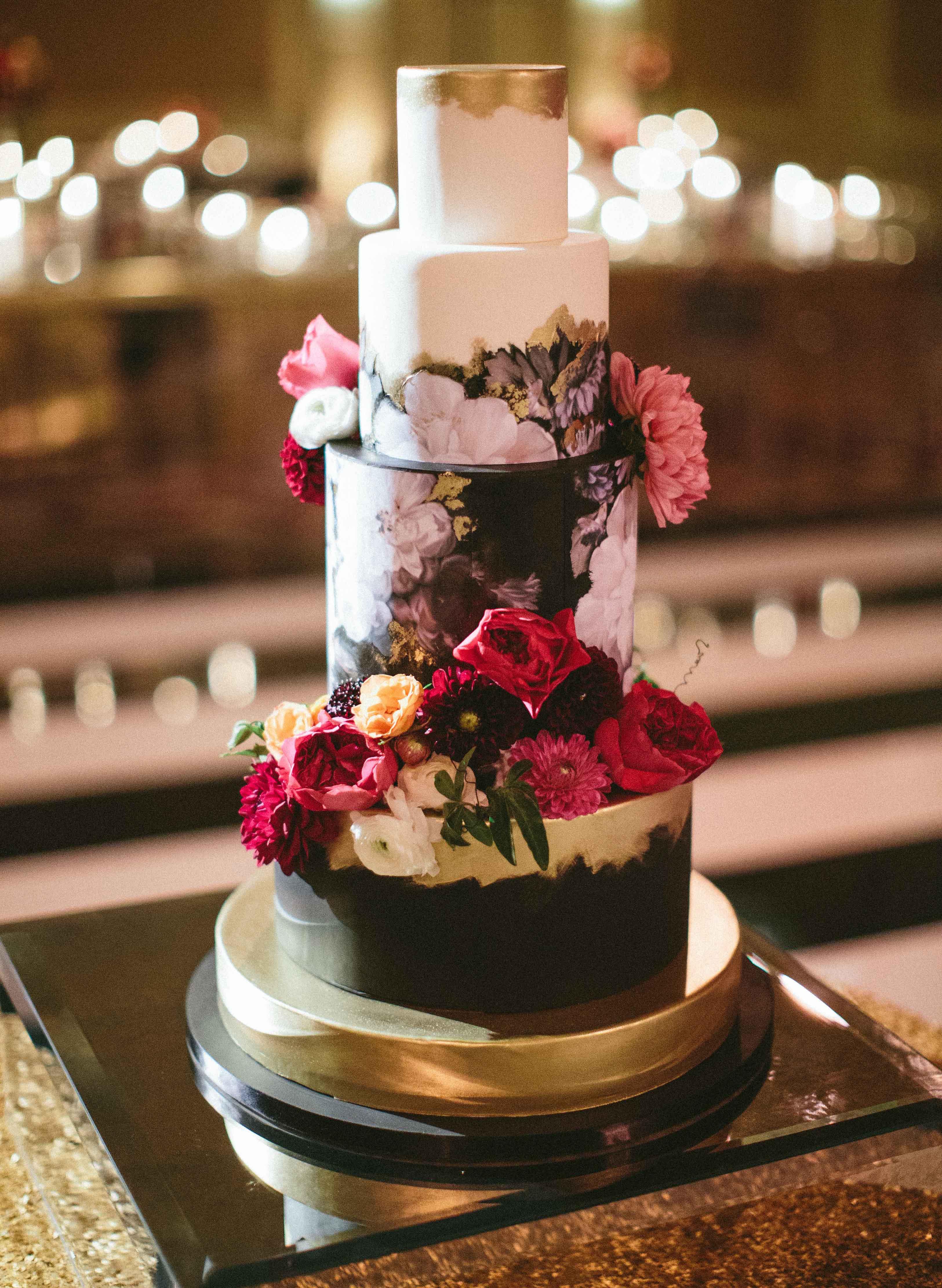 Dark and moody wedding color palette ideas dark floral wedding cake