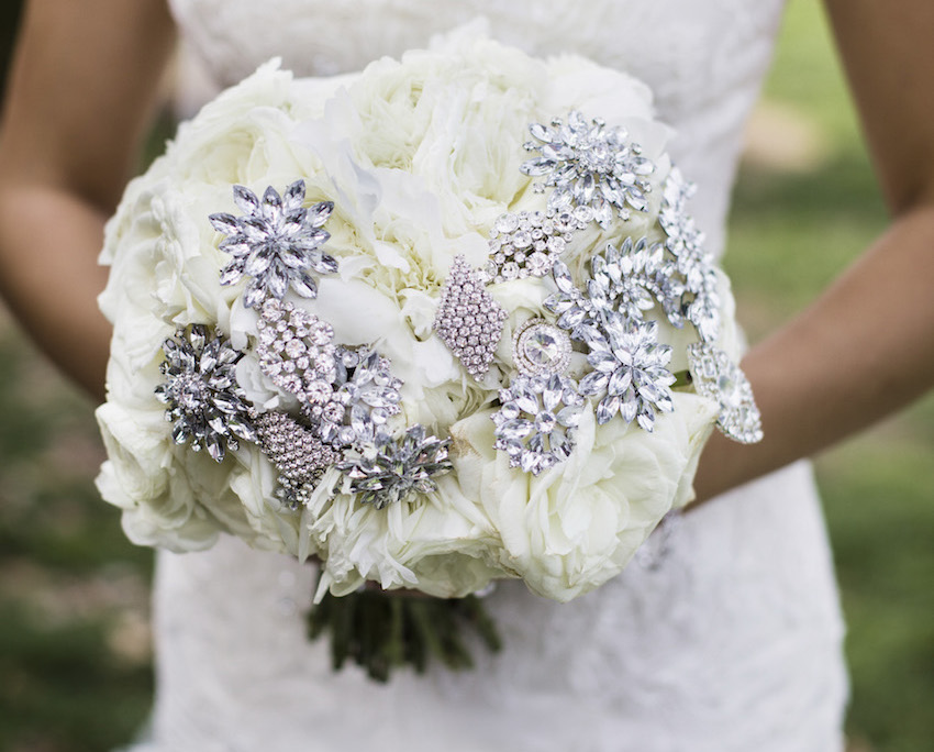 White winter wedding bouquet idea with brooch jewels