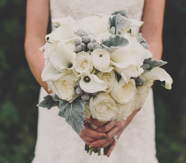 Winter wedding bouqeut ideas white rose white calla lily ranunculus dusty miller lamb's ear