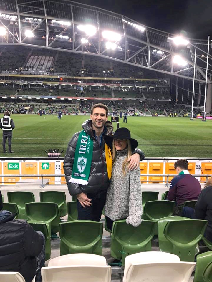 Newlywed couple at rugby game in Ireland at Aviva Stadium Dublin