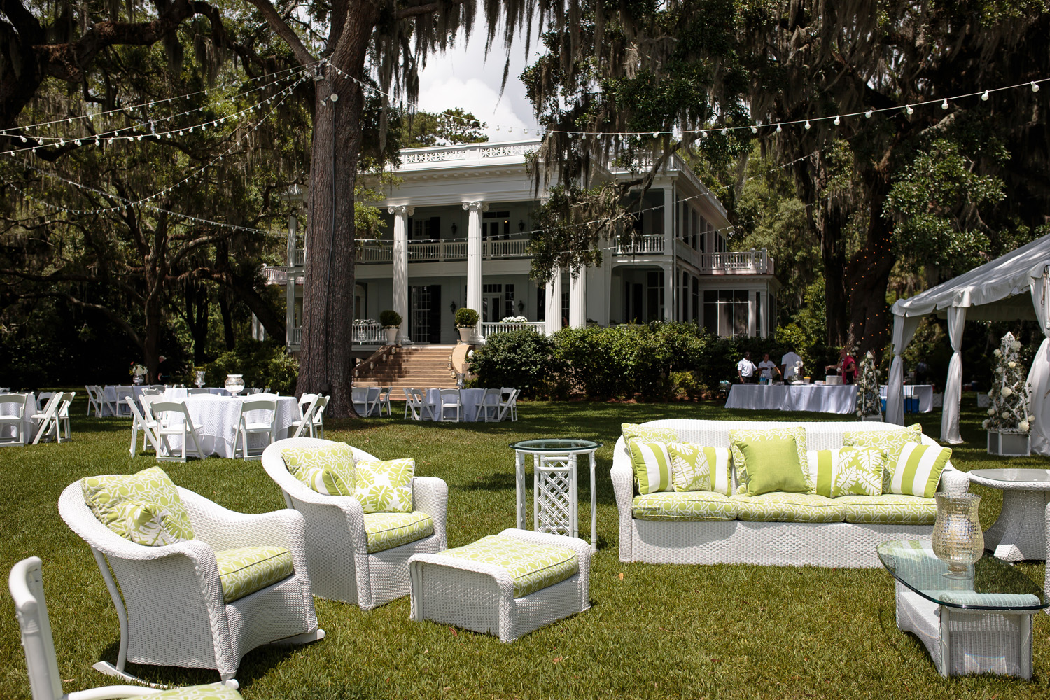 Pantone's 2017 Color of the Year Greenery wedding inspiration lime green white lounge furniture outdoor reception