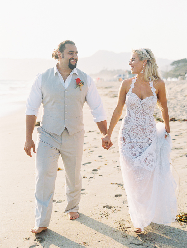 CJ Lana Perry and Rusev Barnyashev Malibu wedding on sand Olia Zavozina wedding dress Inside Weddings winter 2017 issue