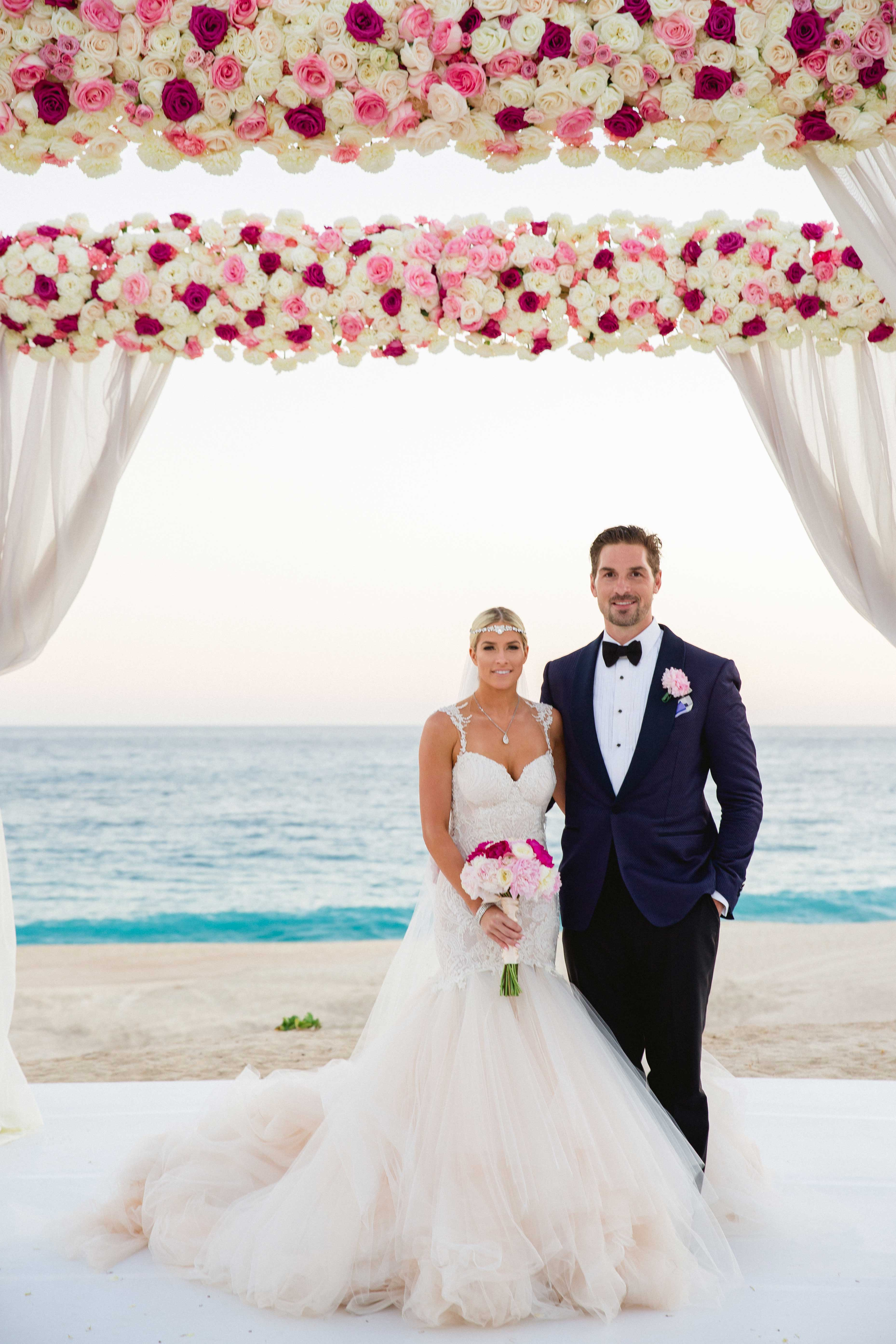 E! Wags star Barbie Blank and Sheldon Souray real wedding beach on the sand Inside Weddings winter 2017 issue