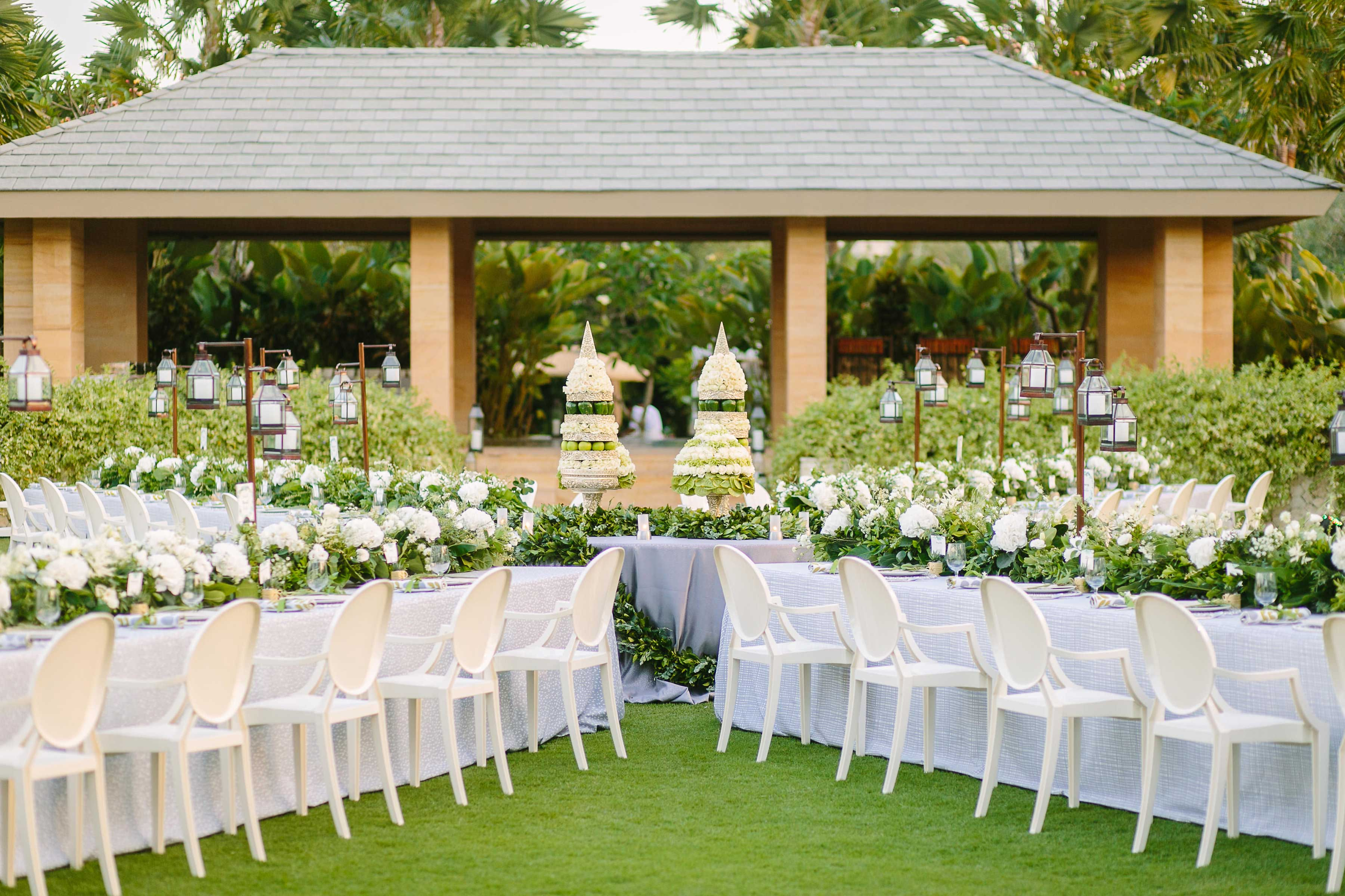 Outdoor wedding reception inspiration in Bali Marry at The Mulia event