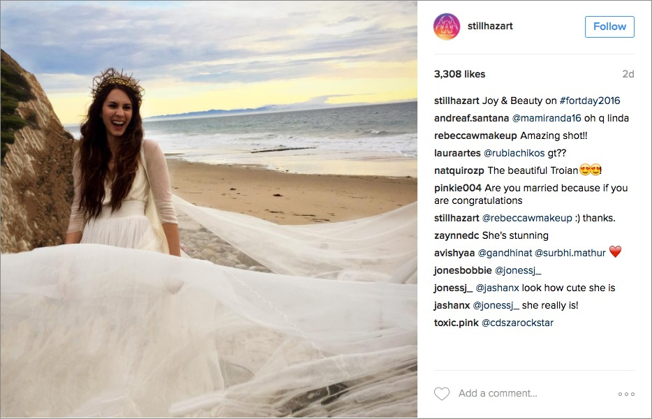 Pretty Little Liars actress Troian Bellisario Spencer bohemian wedding dress