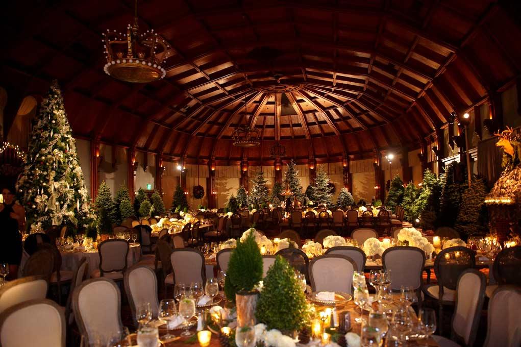 christmas trees at wedding, mini fir trees for centerpieces holiday season wedding