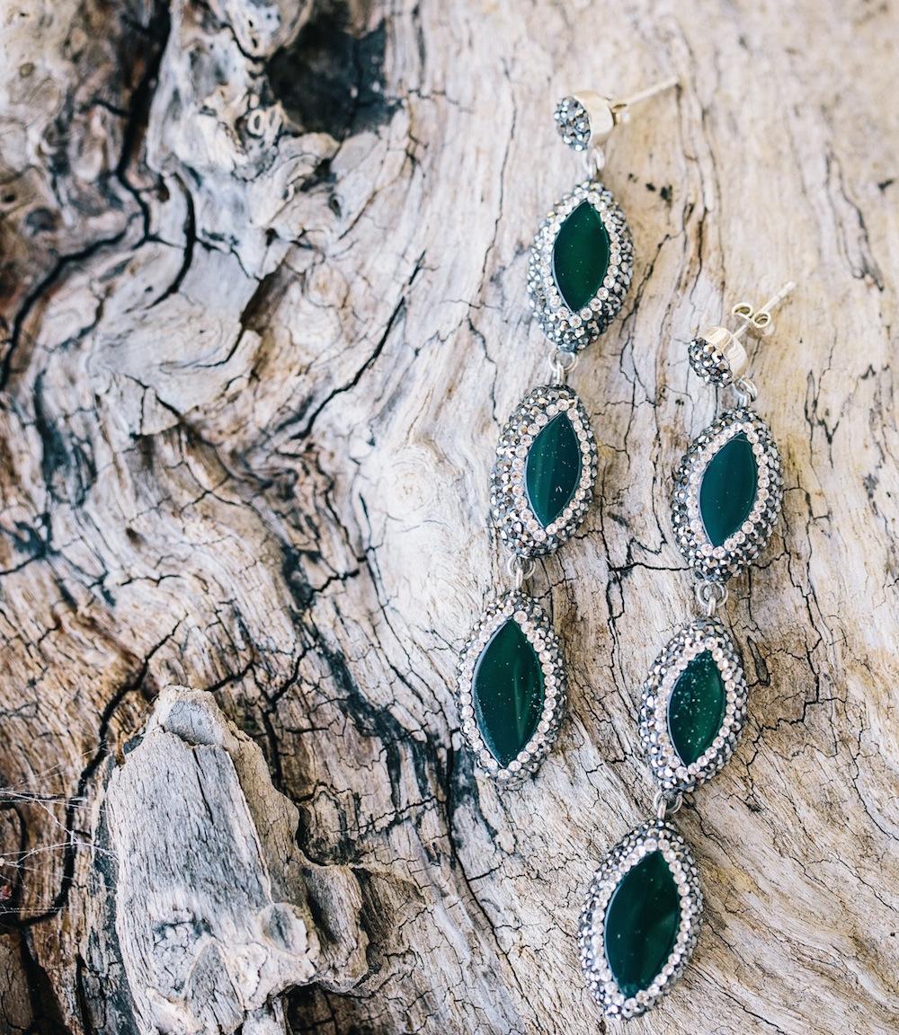 Green emerald earrings marquise shape dangle earrings bridal look wedding day jewelry