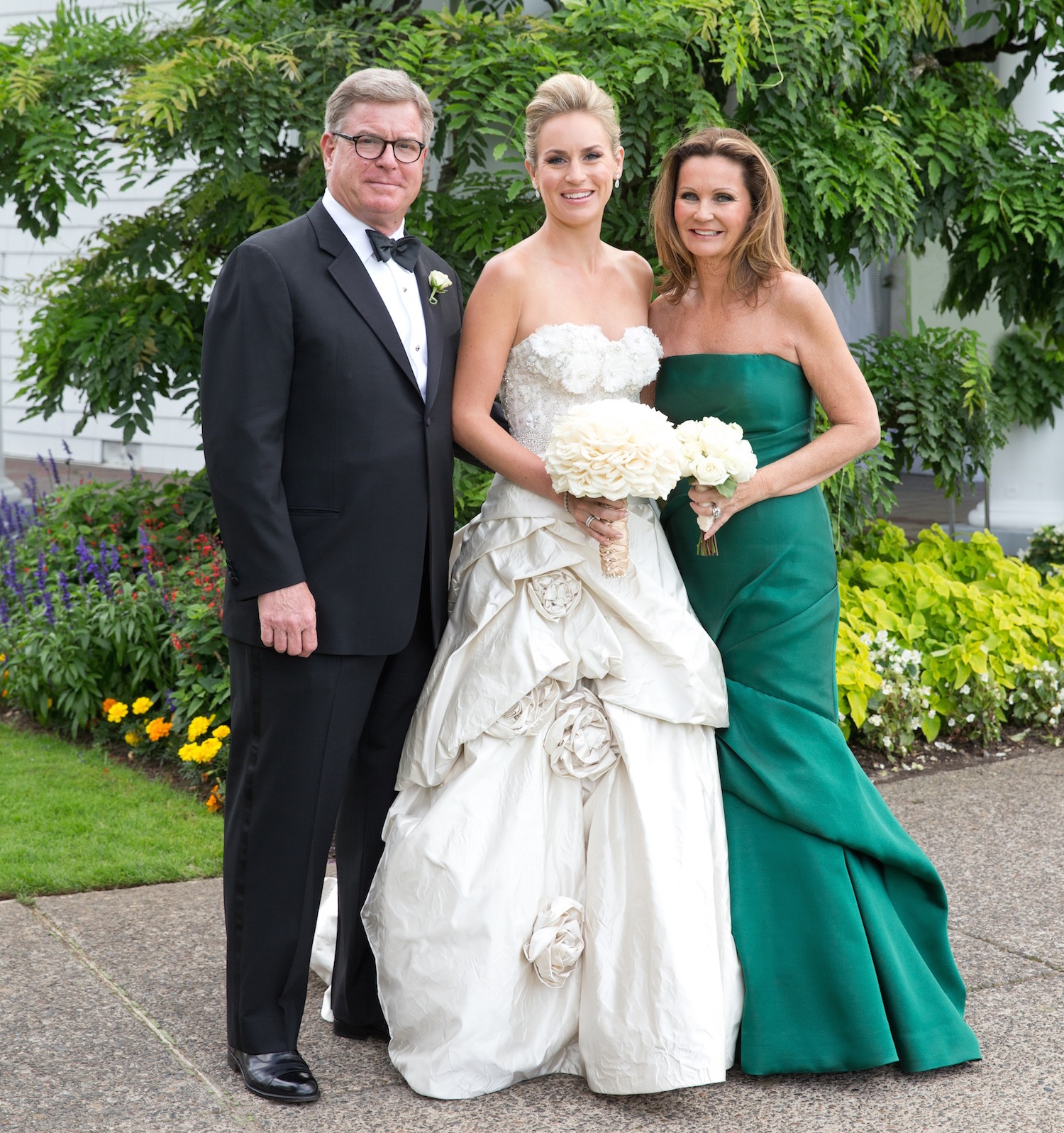 Strapless mother of the bride dress in dark forest green mermaid gown