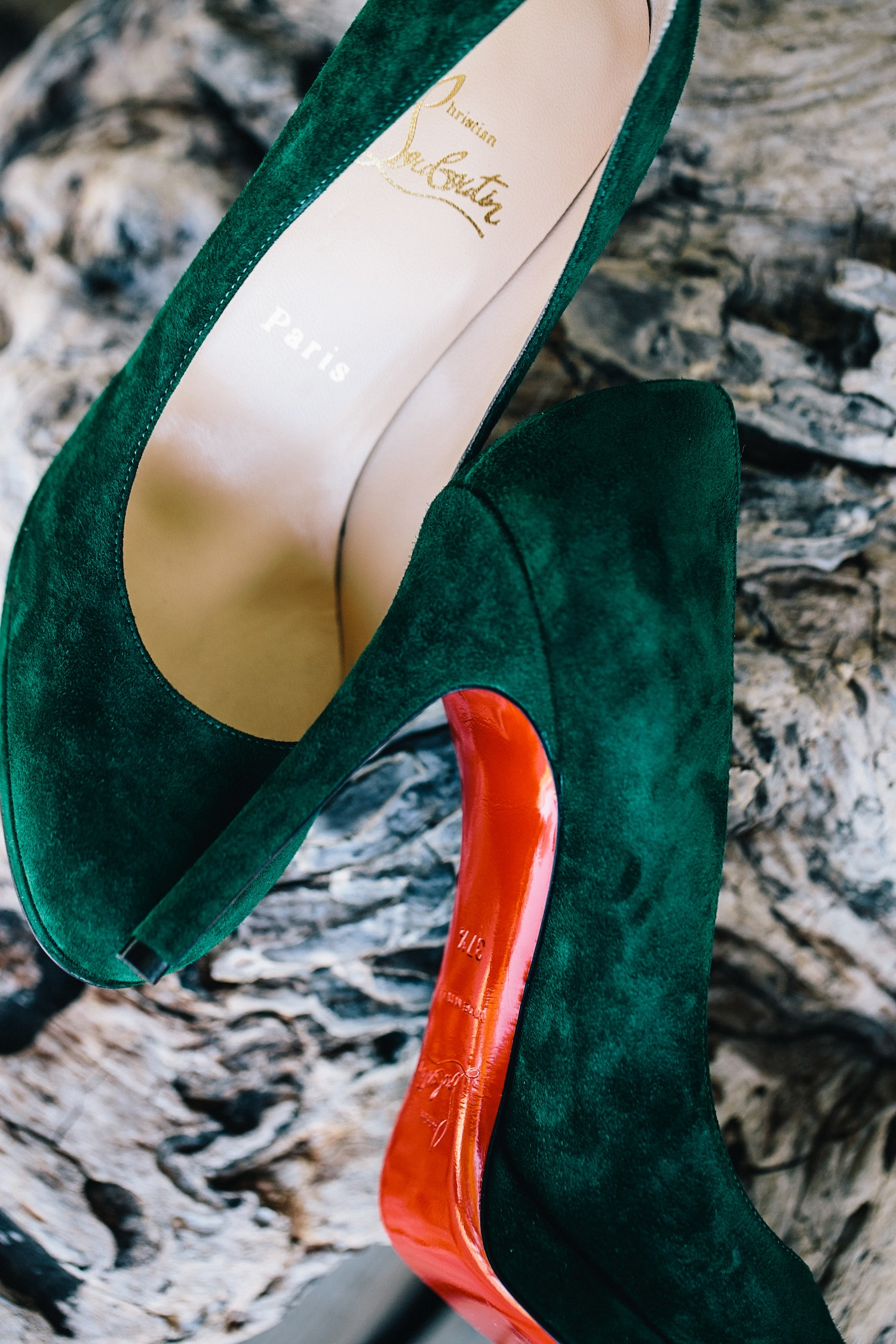 Dark green suede Christian Louboutin shoes wedding rustic ceremony
