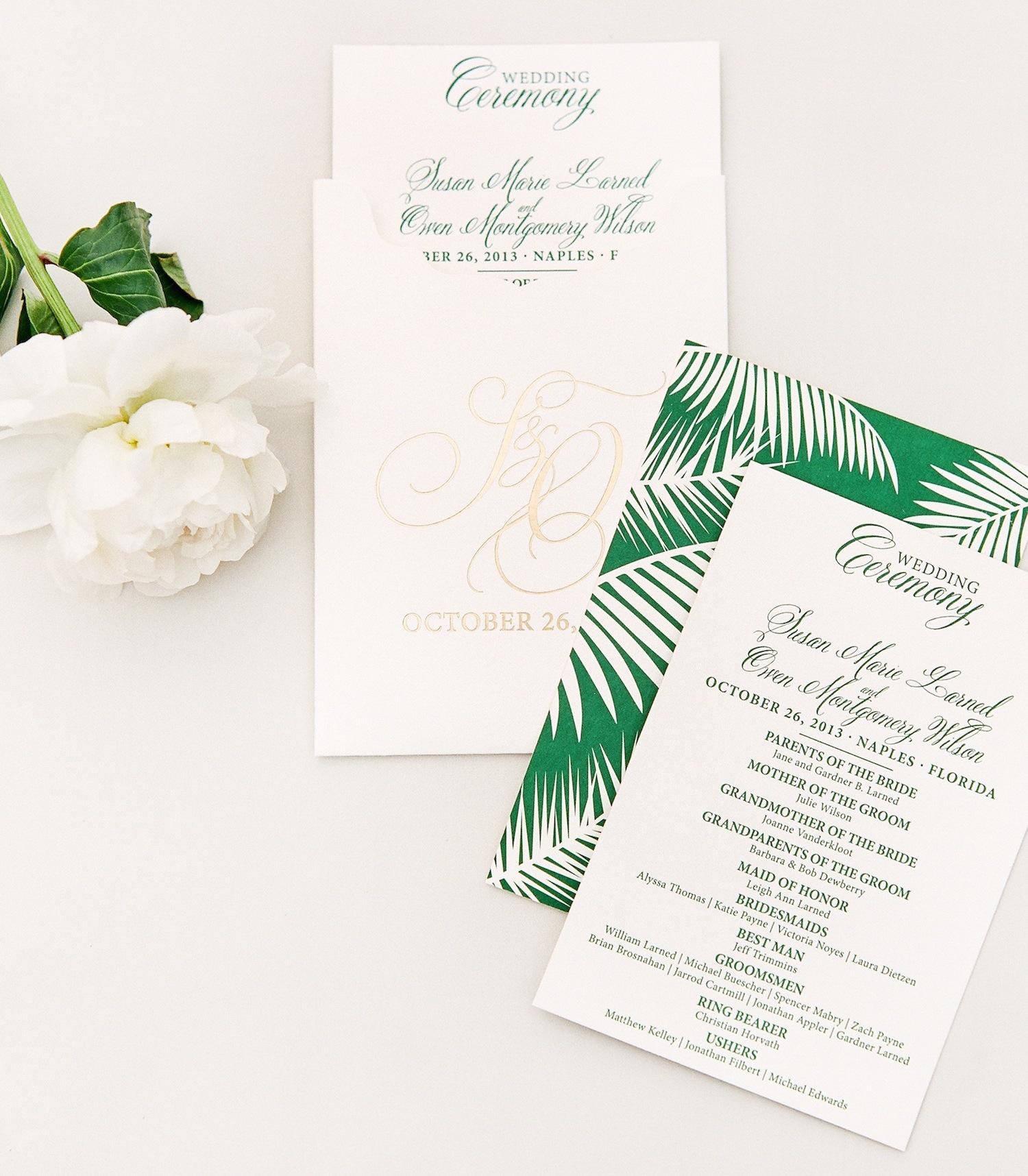 Dark green wedding ceremony program with attendants wedding party palm frond motif design