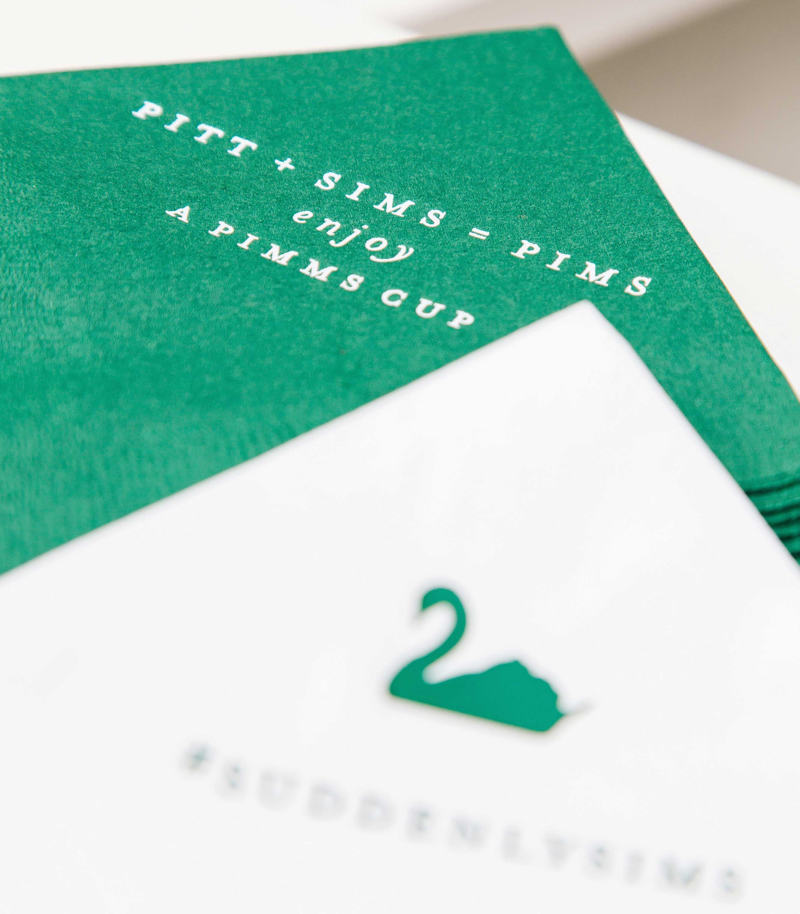 Personalized emerald green cocktail napkins for wedding swan design