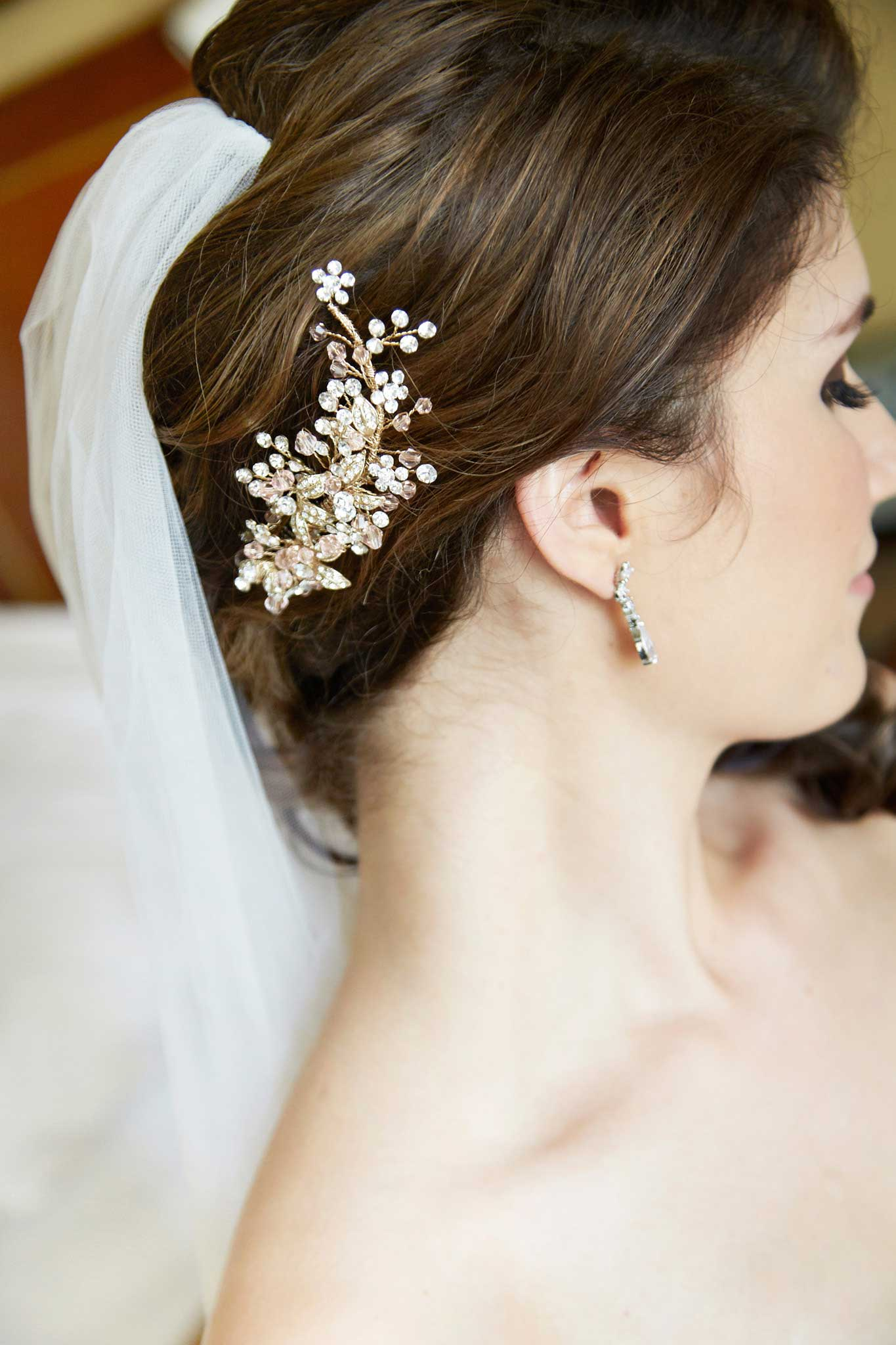 sparkling floral headpiece with pale pink and green gems