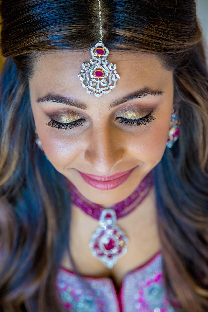 indian wedding maang tikka headpiece magenta gem
