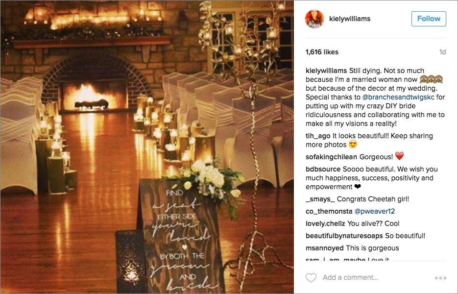 Kiely Williams instagram of wedding ceremony decor winter theme