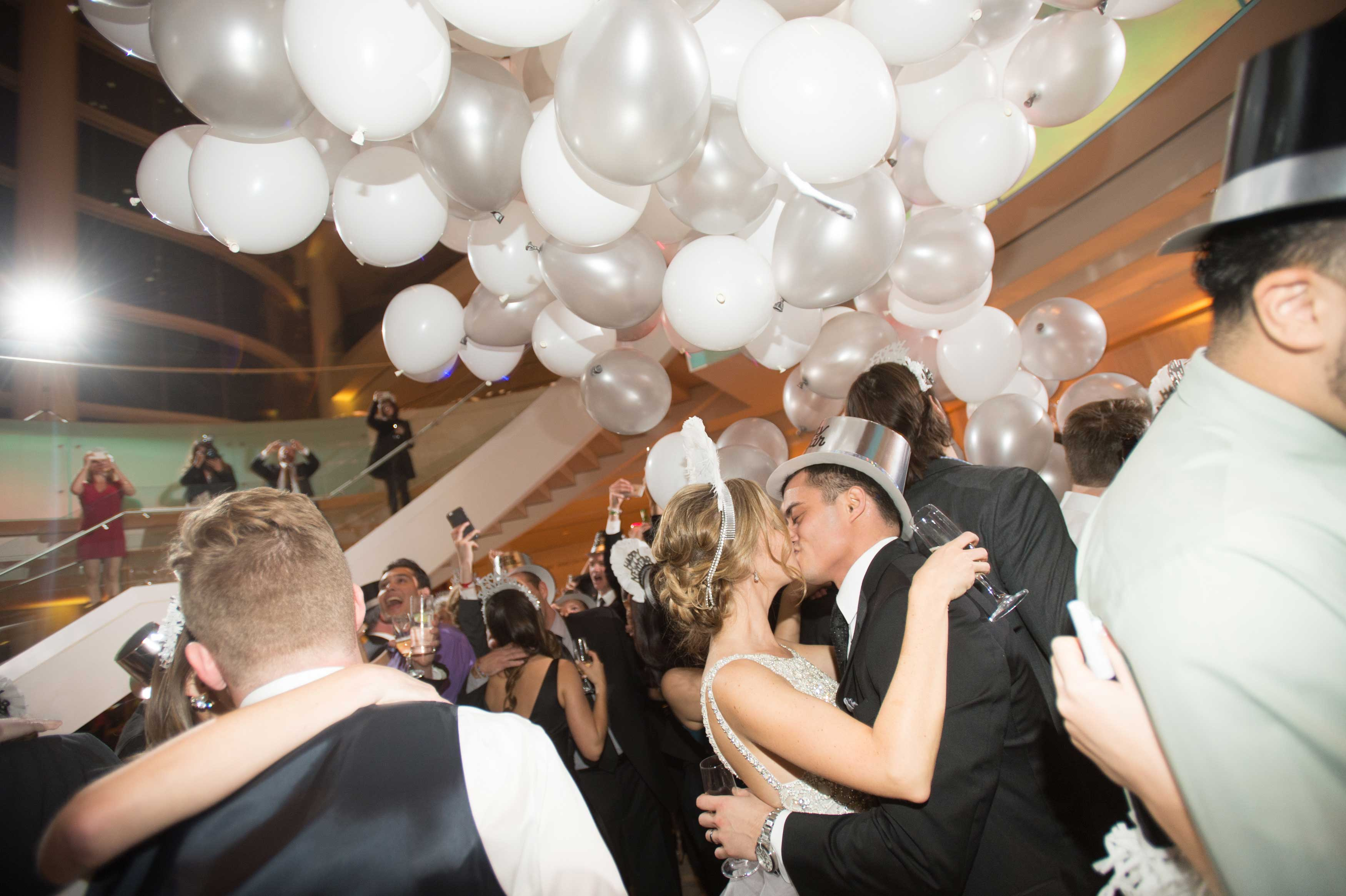 Balloon drop on New Year's Eve for NYE wedding reception