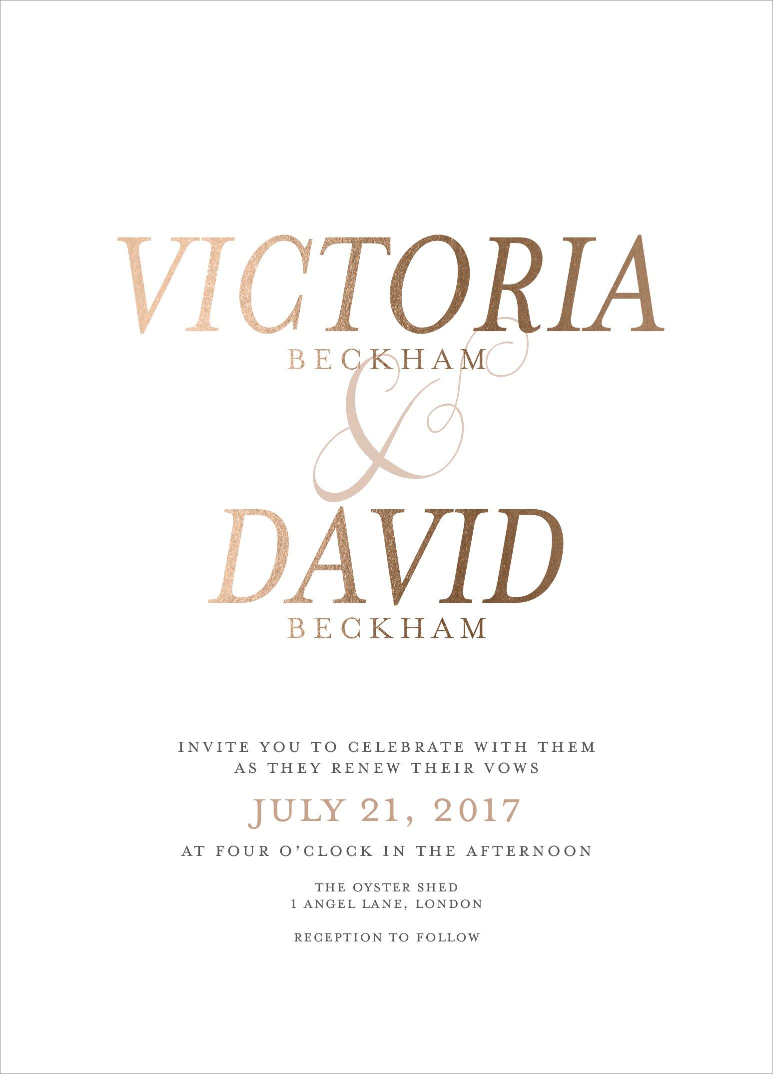 David and Victoria Beckham vow renewal prediction mindy weiss wedding paper divas