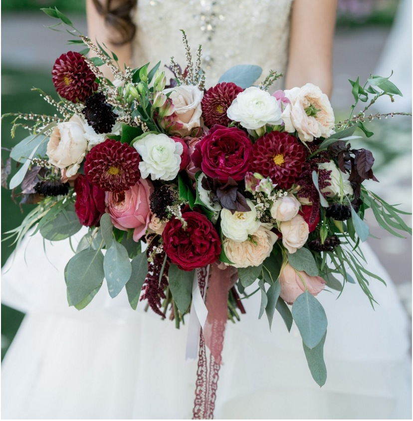 kris bryant wedding inspiration jessica delp wide bouquet ribbons marsala