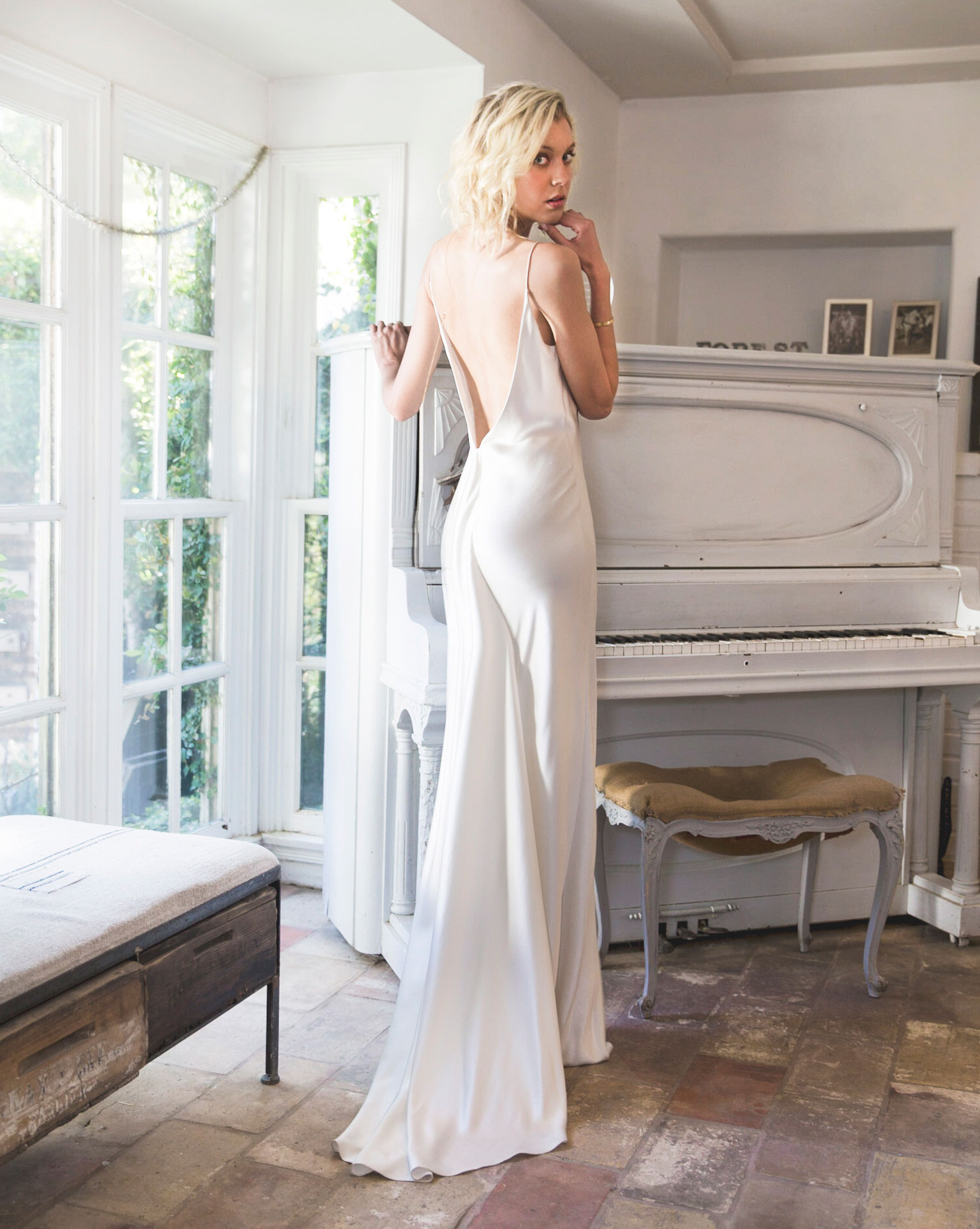 Bride in low back Anais Anette wedding dress styled shoot