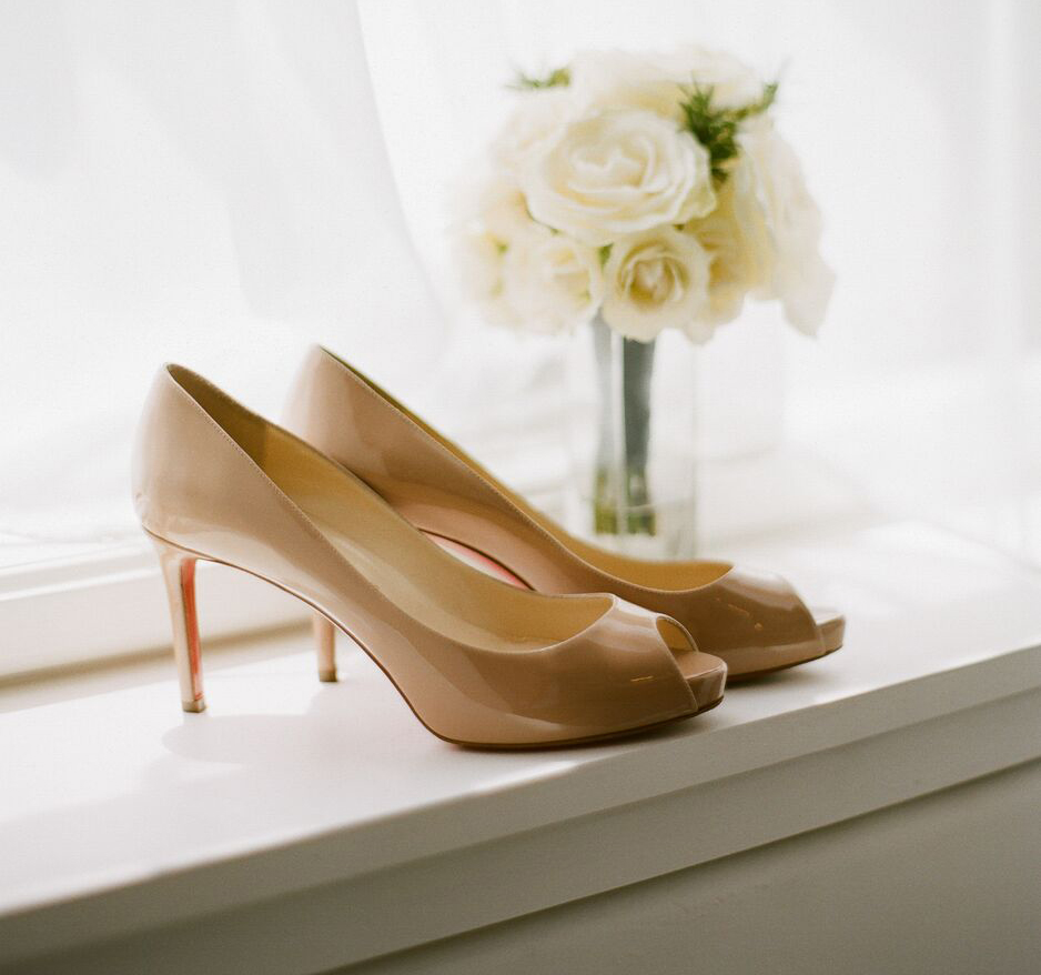 neutral beige nude christian louboutin bridal pumps heels wedding shoes