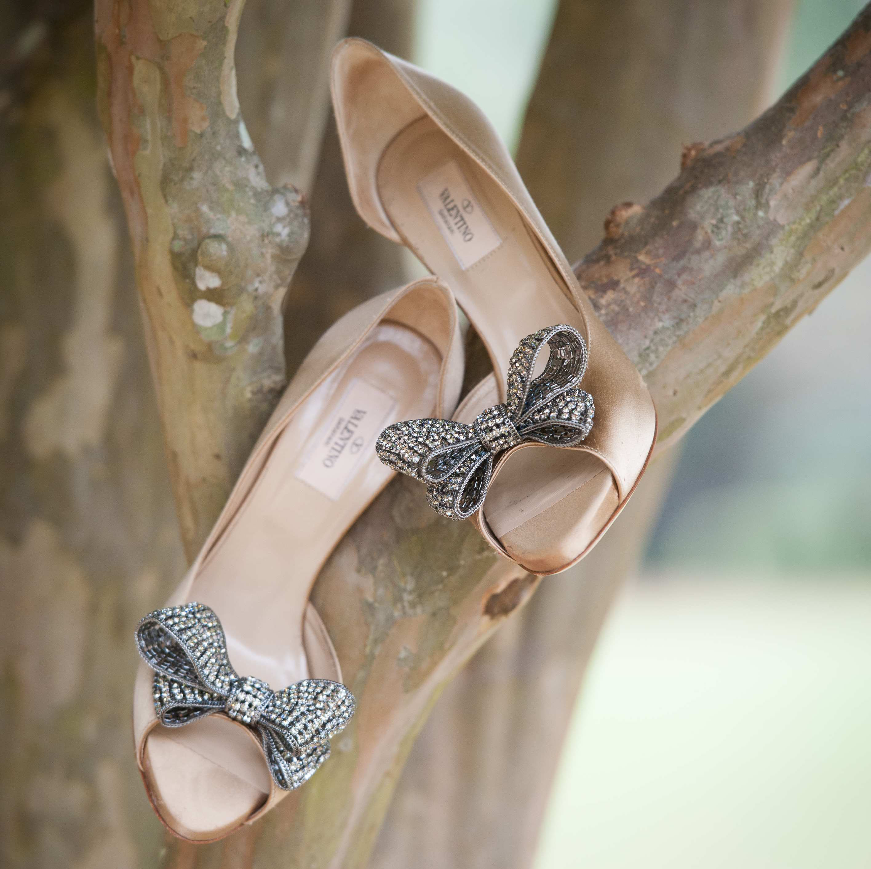 beige nude valentino bridal heels with crystal bows at toe