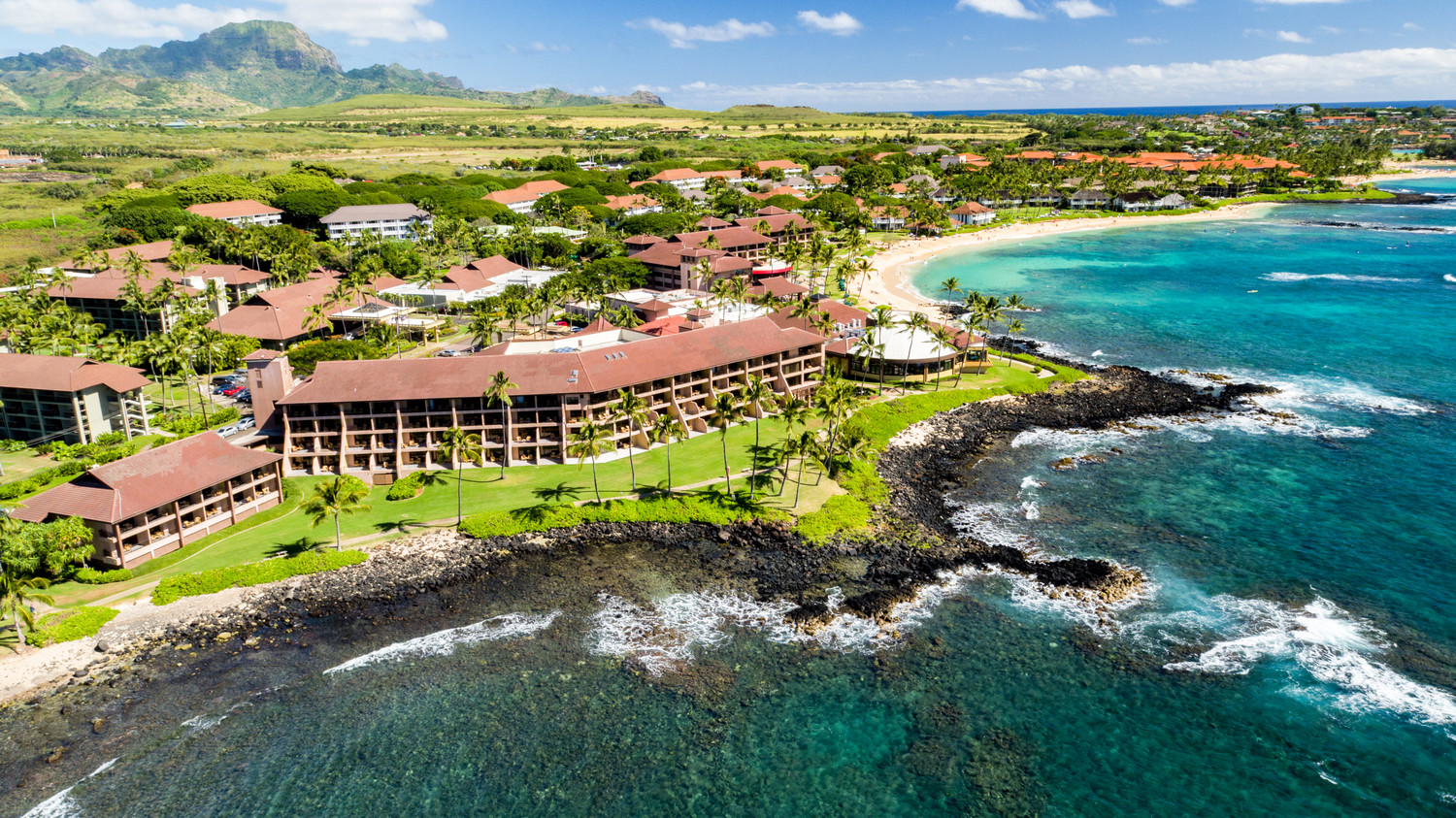 Sheraton Kauai Resort aerial exterior view of hotel