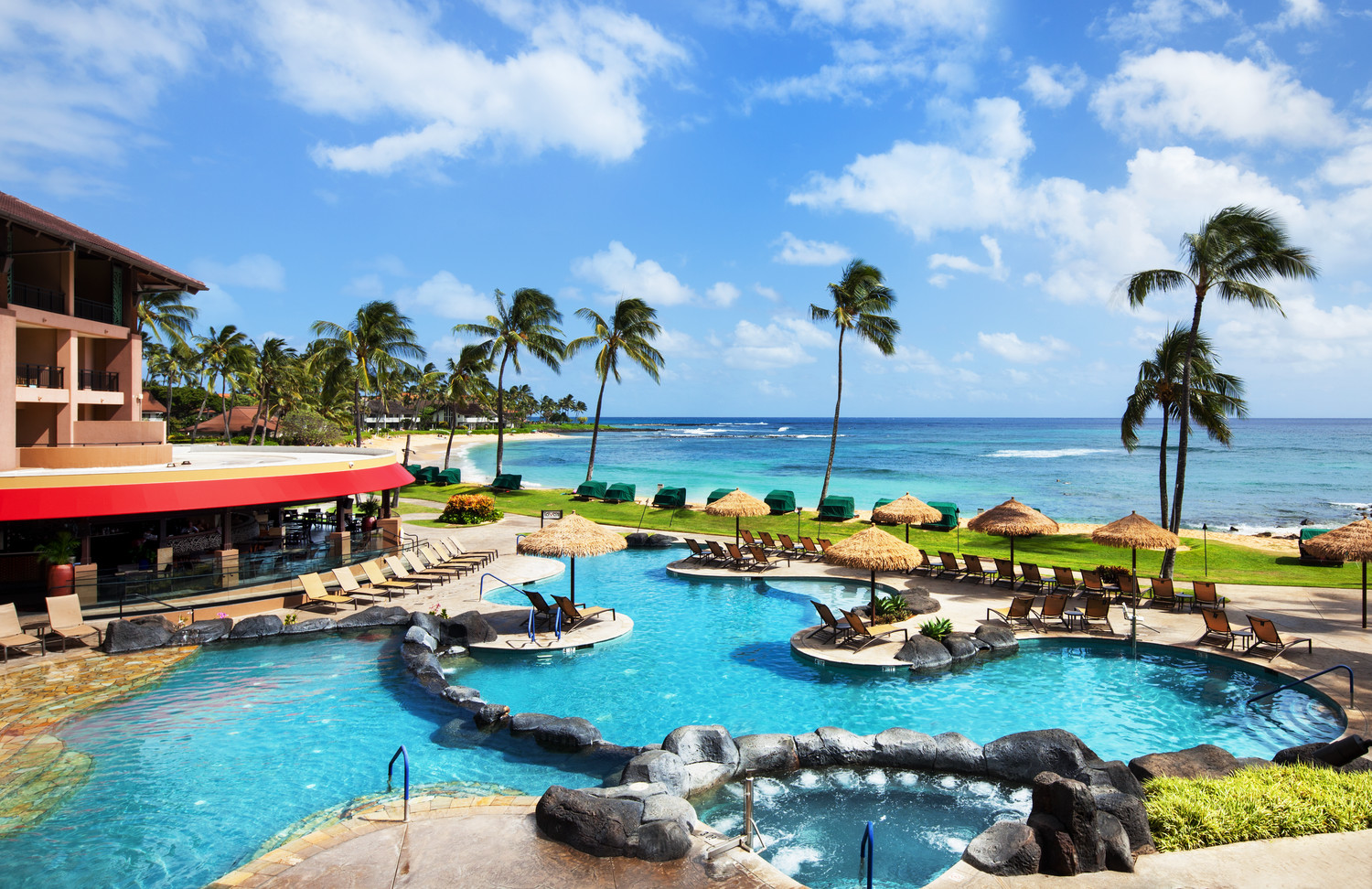 Sheraton Kauai Resort Ocean Pool oceanfront swimming pool at hotel Hawaii