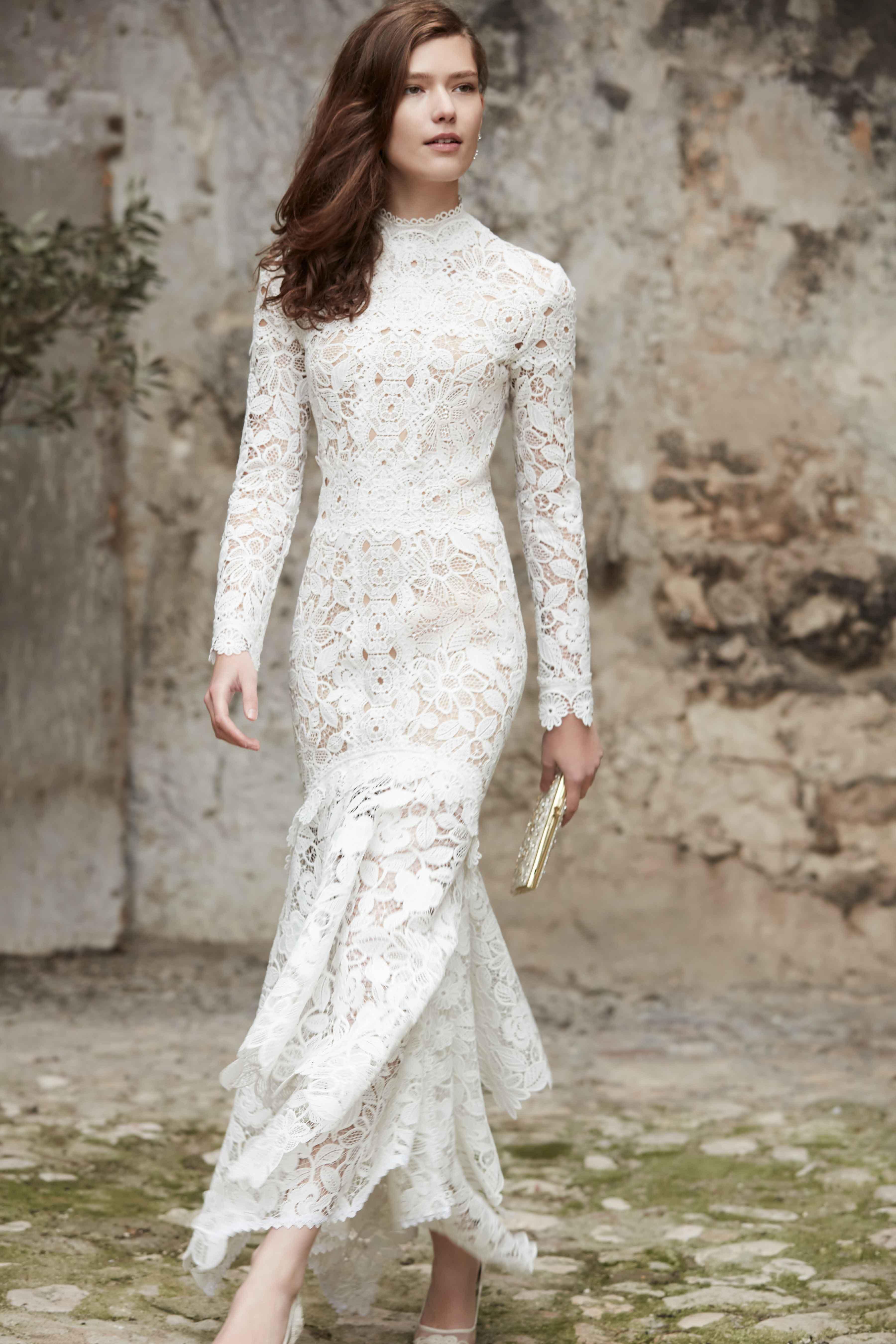 Nessa high neck lace wedding dress BHLDN