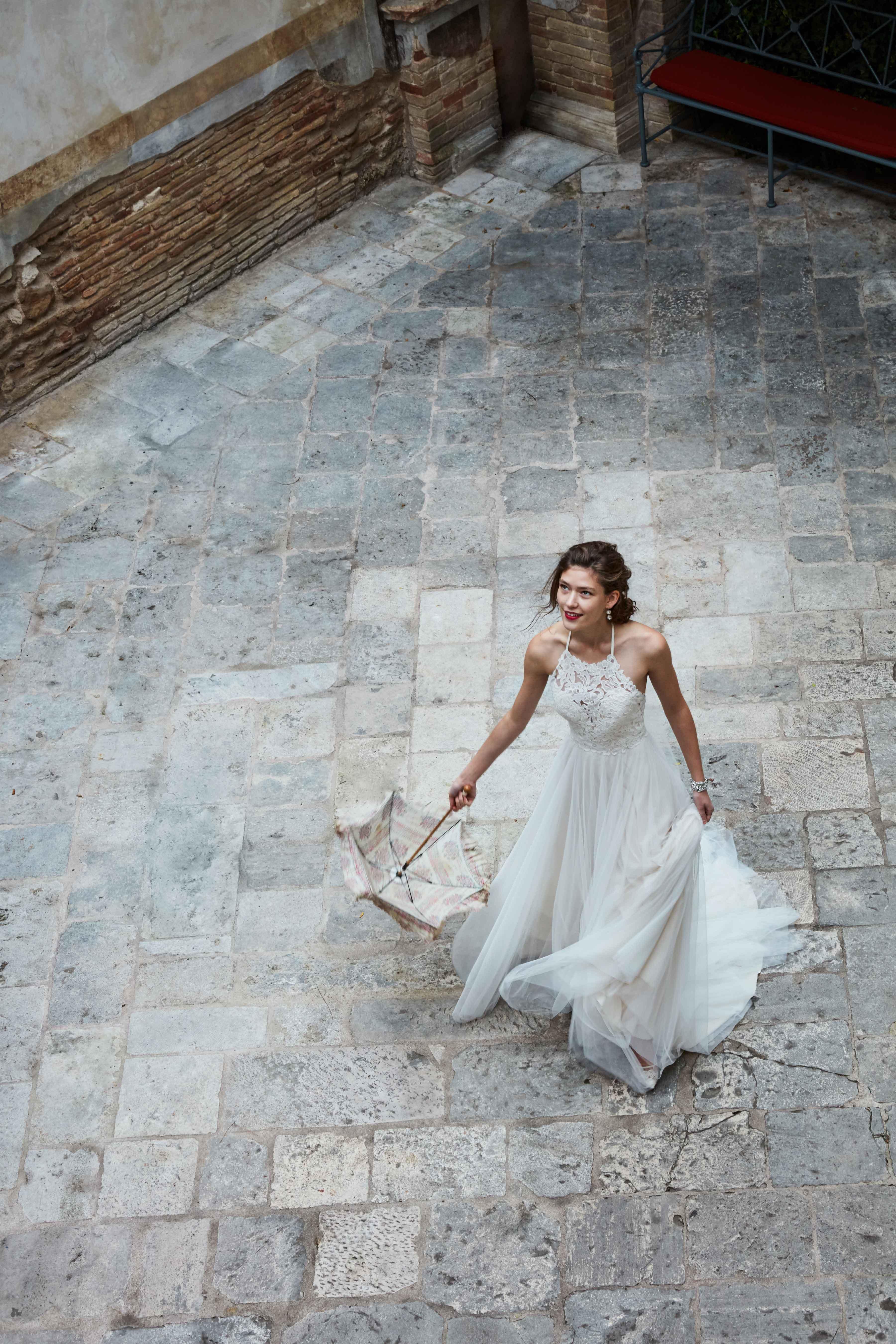 High neck open back Josie wedding dress BHLDN