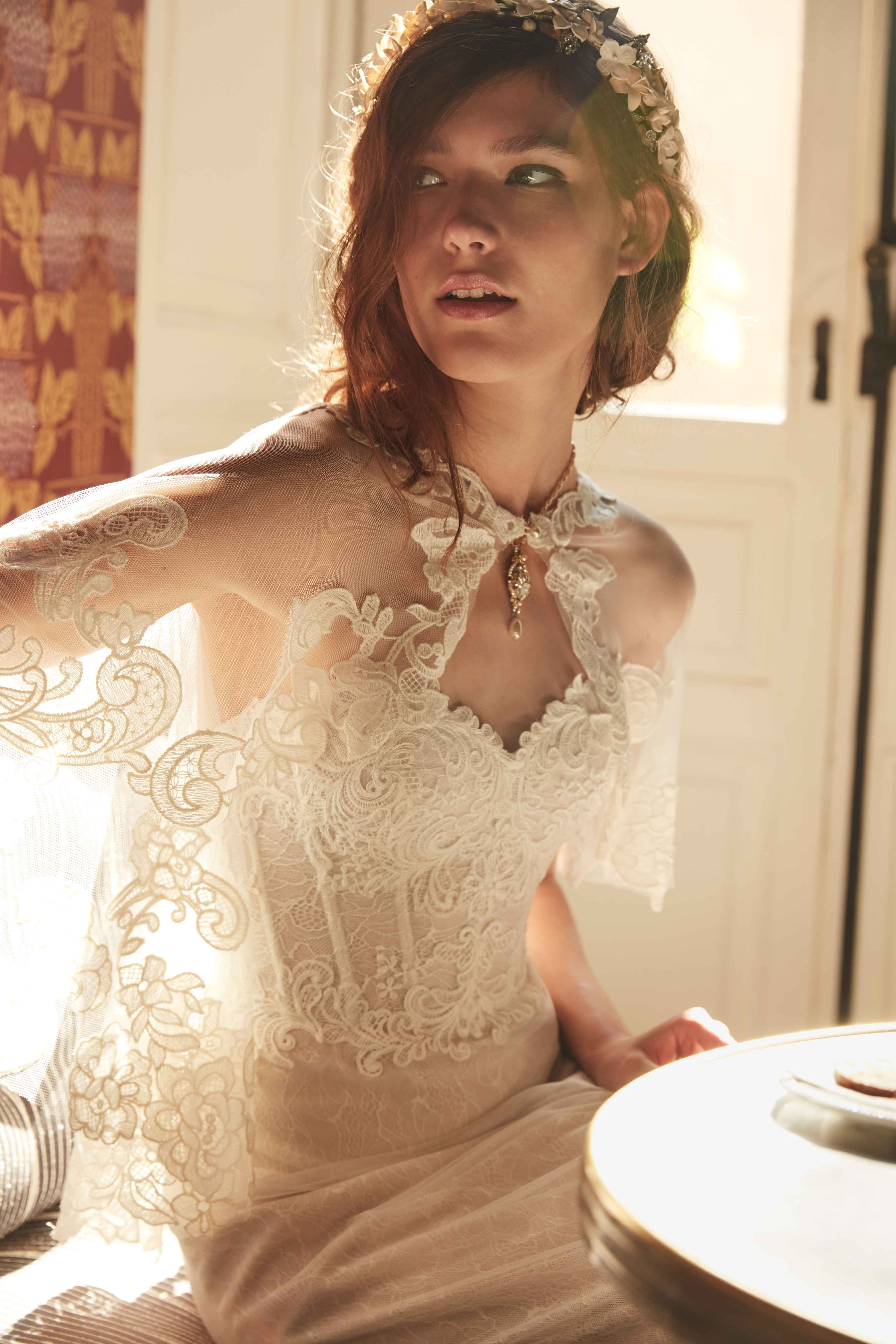 Lorena wedding dress corset with Adorlee cape BHLDN