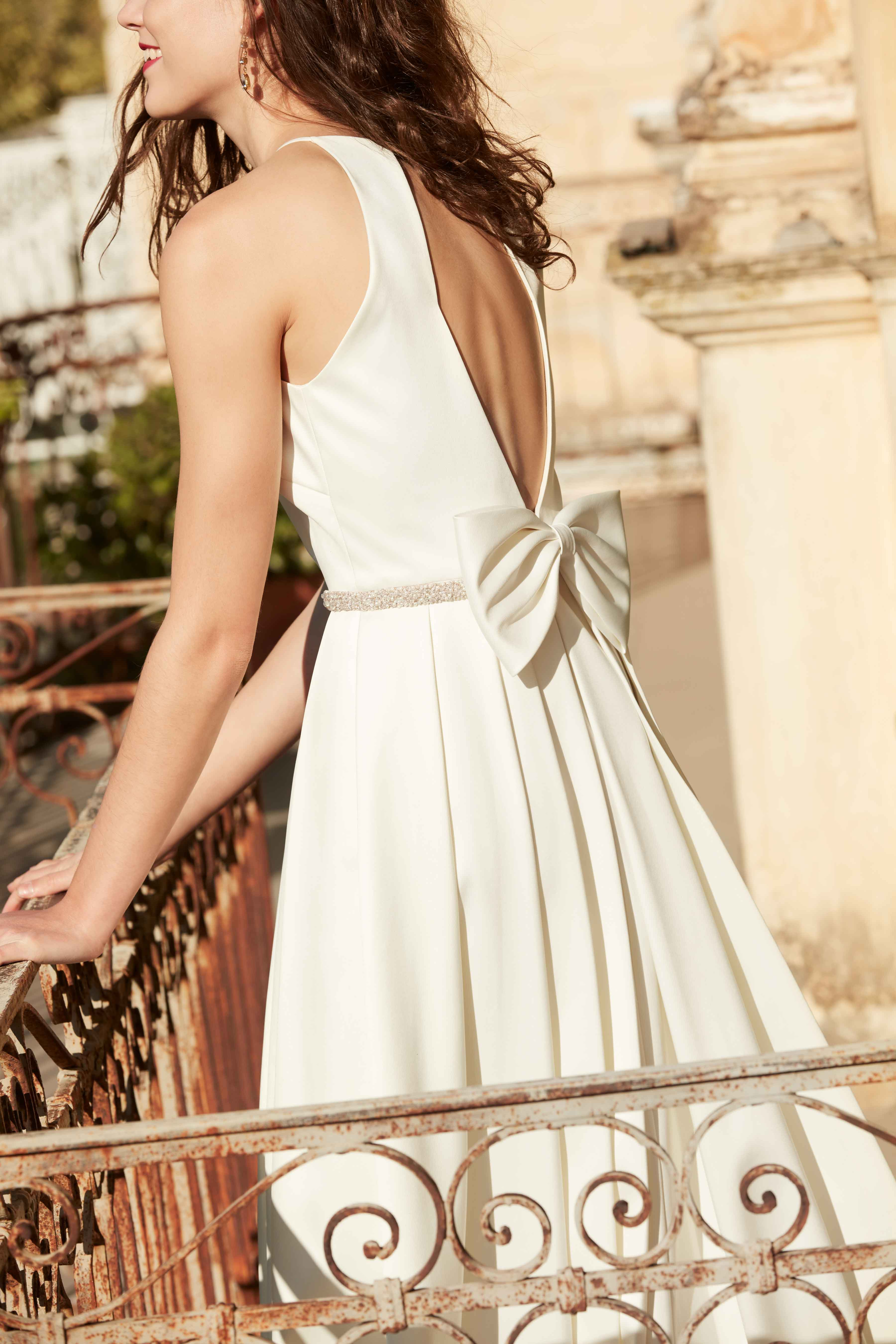 Wedding dress with low V-back and bow detail BHLDN Delancey gown