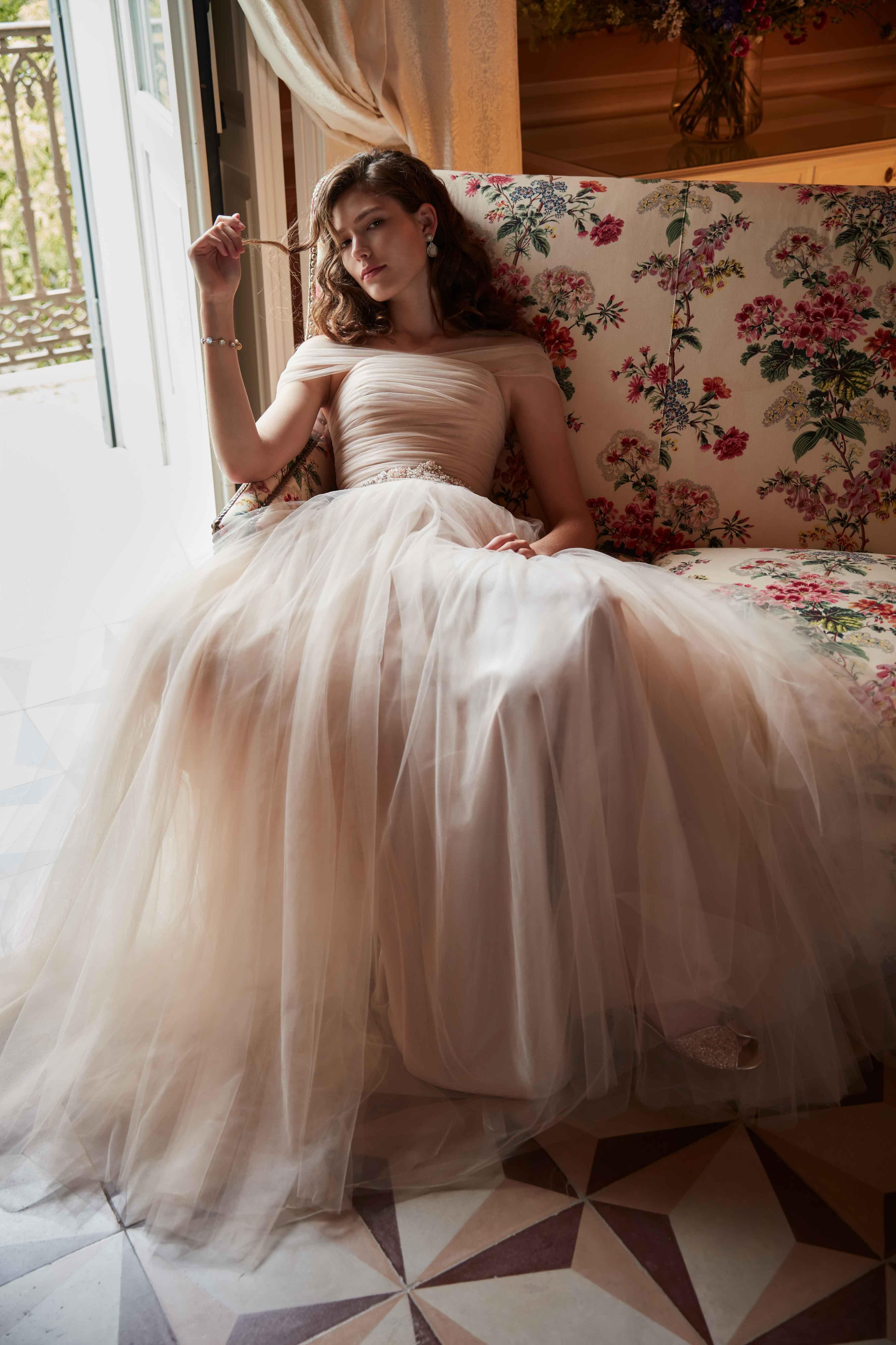 Ramona blush bridal gown wedding dress BHLDN